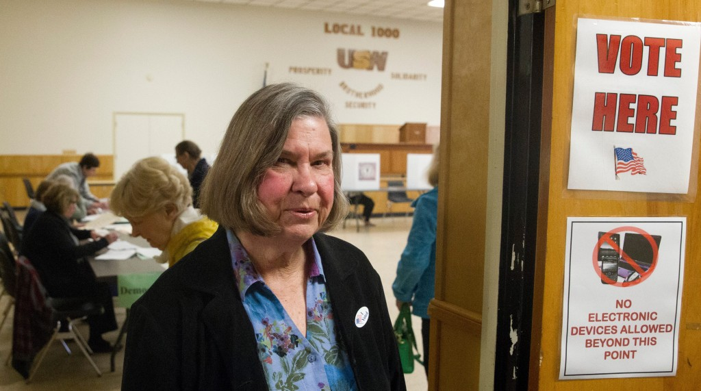 Karen Biesanz voted for Hillary in the Democratic presidential primary at the United Steelworkers Local 1000 Union Hall in Corning on April 19. (John Hickey/Buffalo News)