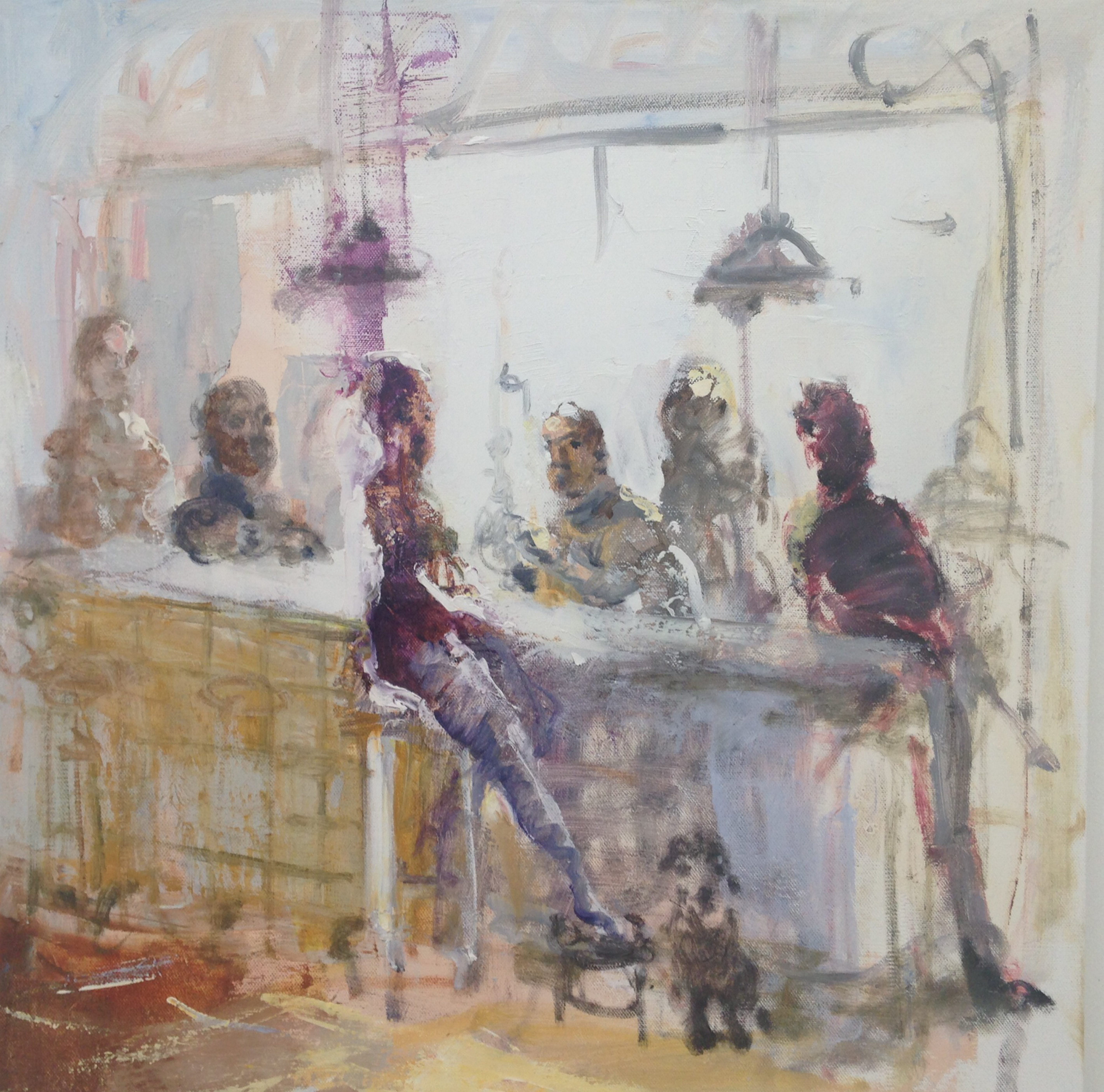 """Peter Fowler's 2016 painting """"Happy Hourwith Canine"""" is part of the inaugural group show in the Paper Moon Gallery on Franklin Street."""