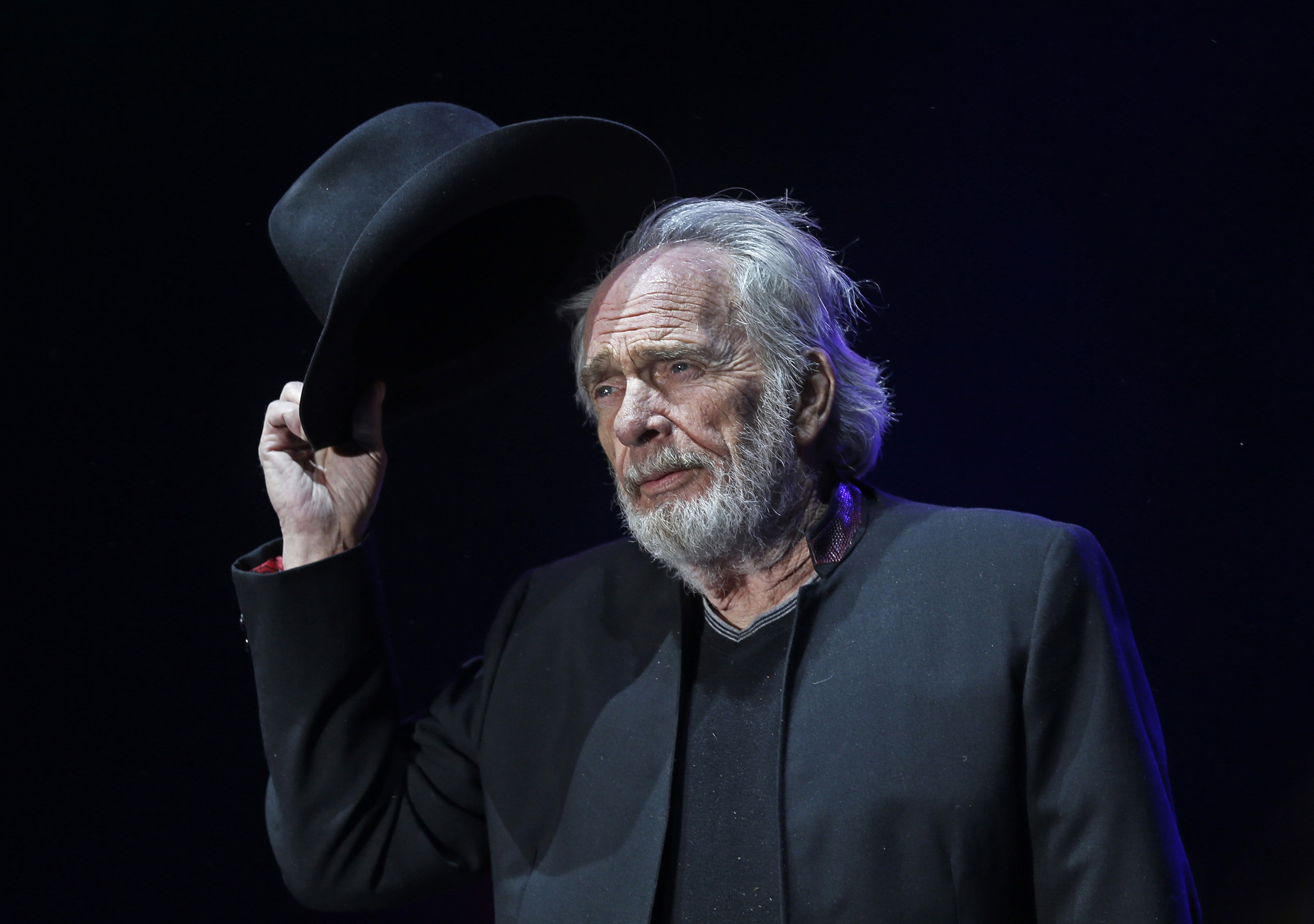 Merle Haggard tips his hat to the crowd as he begins to perform on the Palomino Stage on the first night of the sold-out three-day Stagecoach Country Music Festival at the Empire Polo Club Friday, April 24, 2015 in Indio, Calif. Haggard died on April 5, 2016, on his birthday. He was 79. (Allen J. Schaben/Los Angeles Times/TNS)
