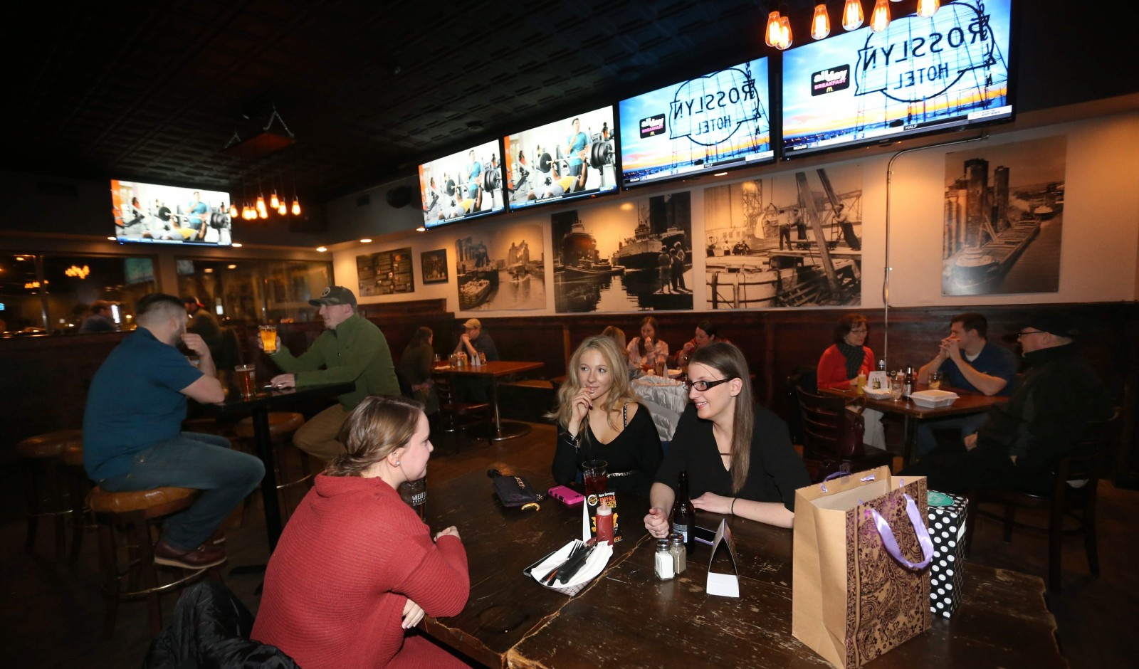 From left, Emily Adams and Natalie Ristine, both of Hamburg, and Lisa Panek of South Buffalo, celebrate Panek's birthday at Doc Sullivan's.