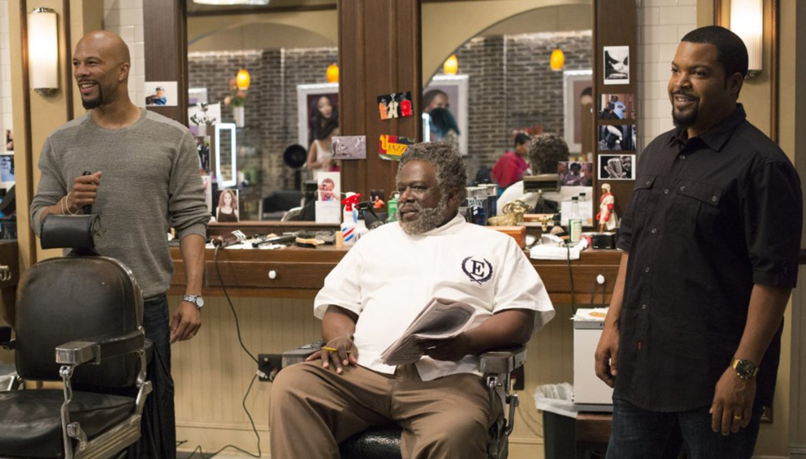 "Common, left, Cedric the Entertainer and Ice Cube star in ""Barbershop 3: The Next Cut."""
