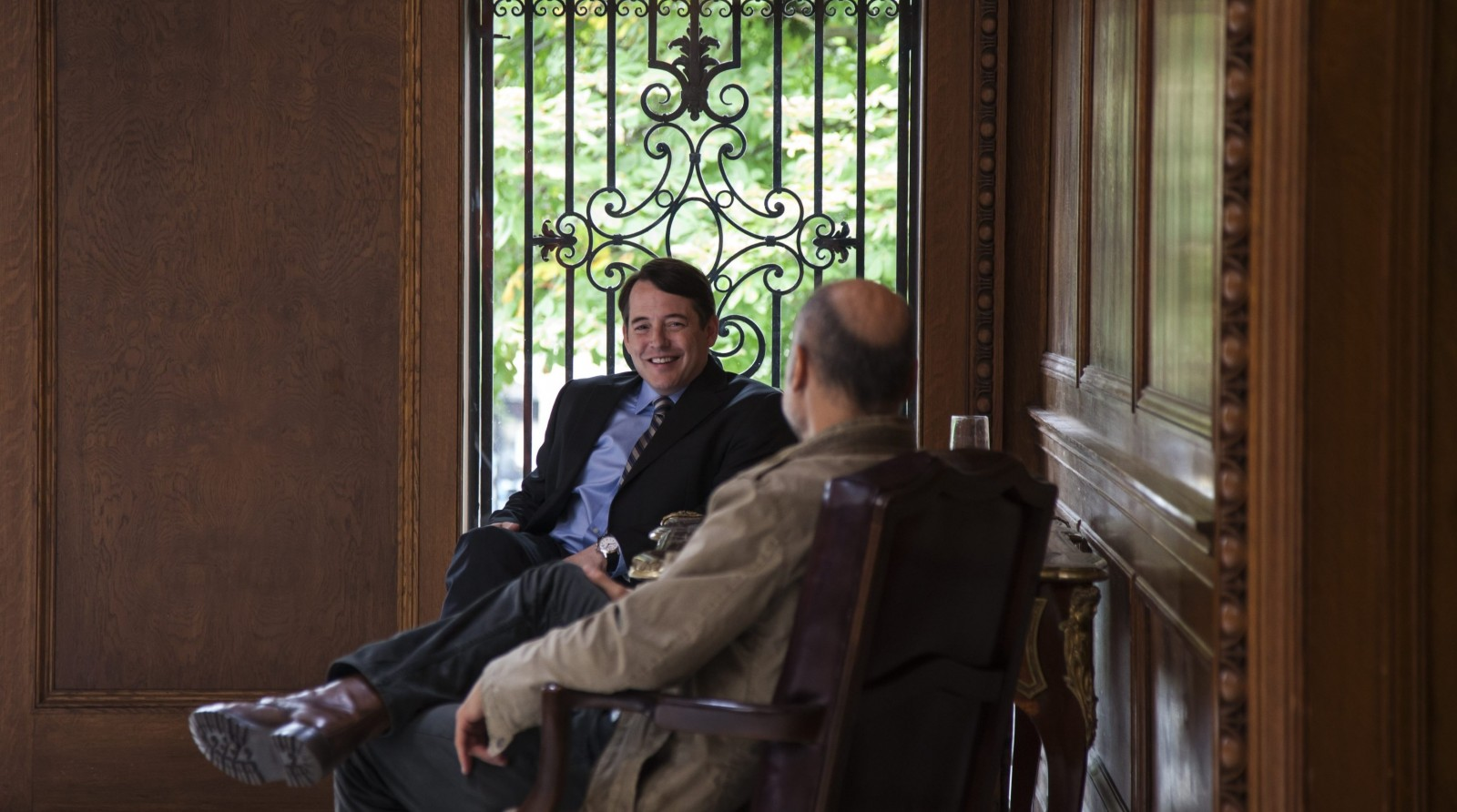 "Matthew Broderick and Greg Stuhr pictured in the Butler Mansion, one of the local sets used for the filming of ""The American Side."" (Photo by Ginny Stewart)"