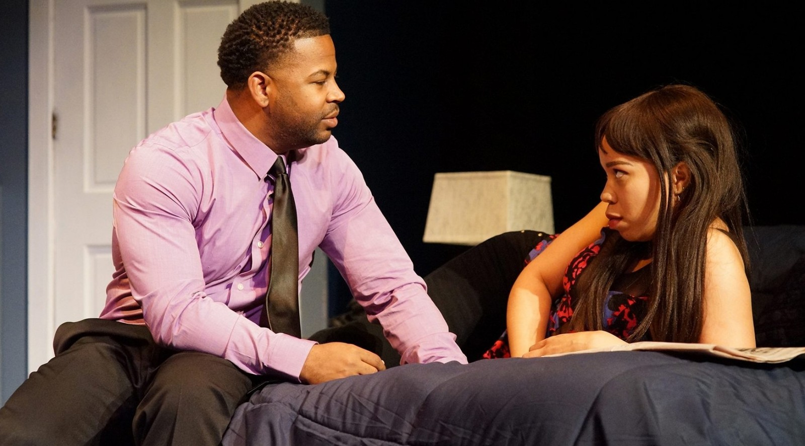 "Peter Johnson and Danica Riddick star in Road Less Traveled Productions's ""Farragut North."" (Photo by Beau Willimon)"