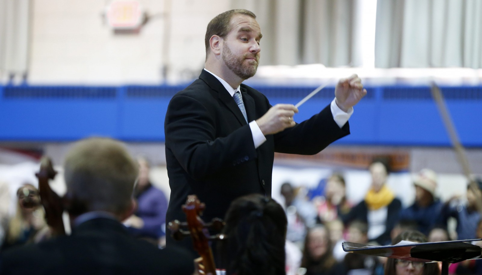 "Associate Conductor Stefan Sanders leads the Buffalo Philharmonic's ""Know the Score"" concert on ""The Planets."" (Mark Mulville/Buffalo News file photo)"