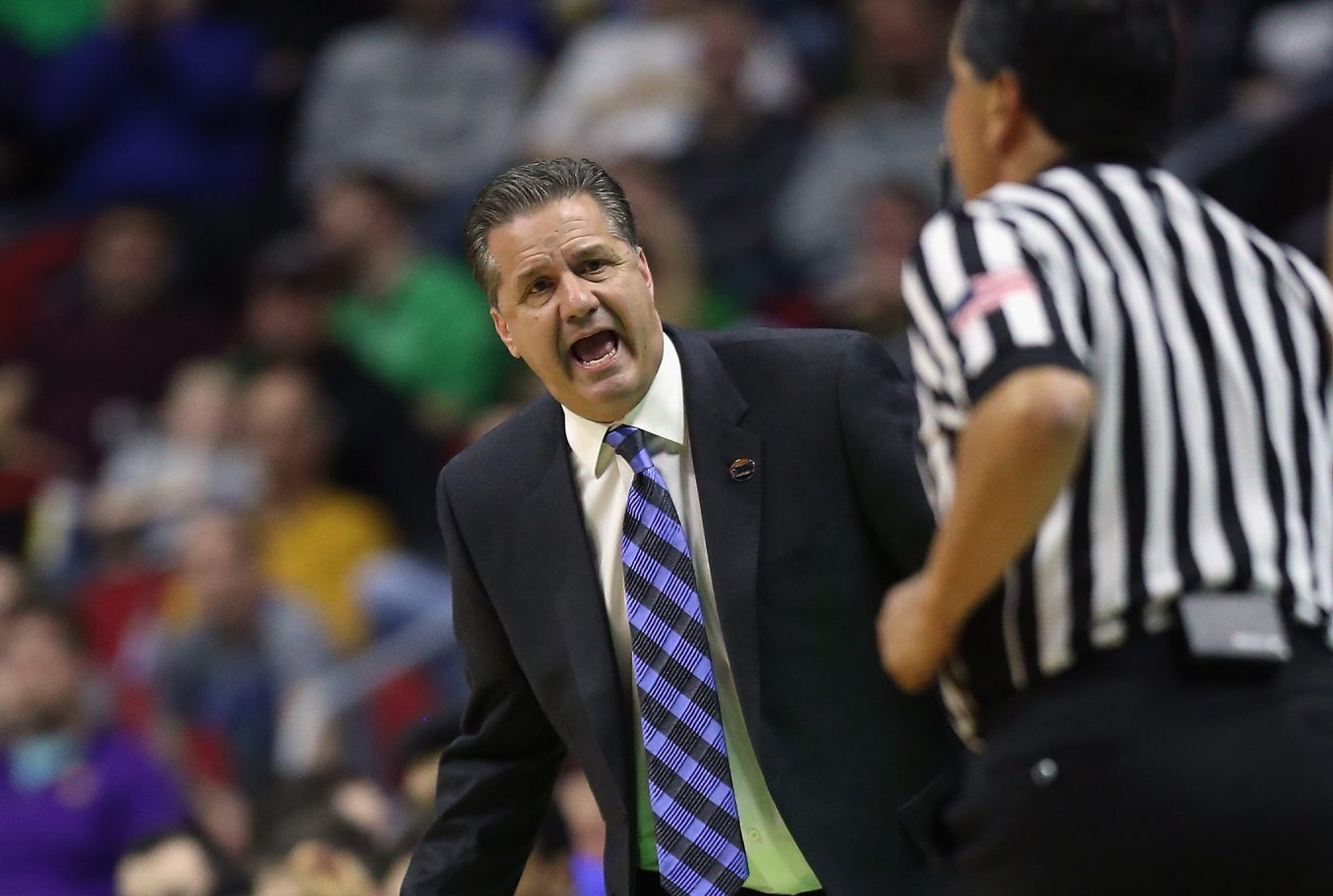 Kentucky Wildcats head coach John Calipari reacts while playing the Stony Brook Seawolves in the first half during the first round of the 2016 NCAA Men's Basketball Tournament at Wells Fargo Arena on March 17, 2016, in Des Moines, Iowa.