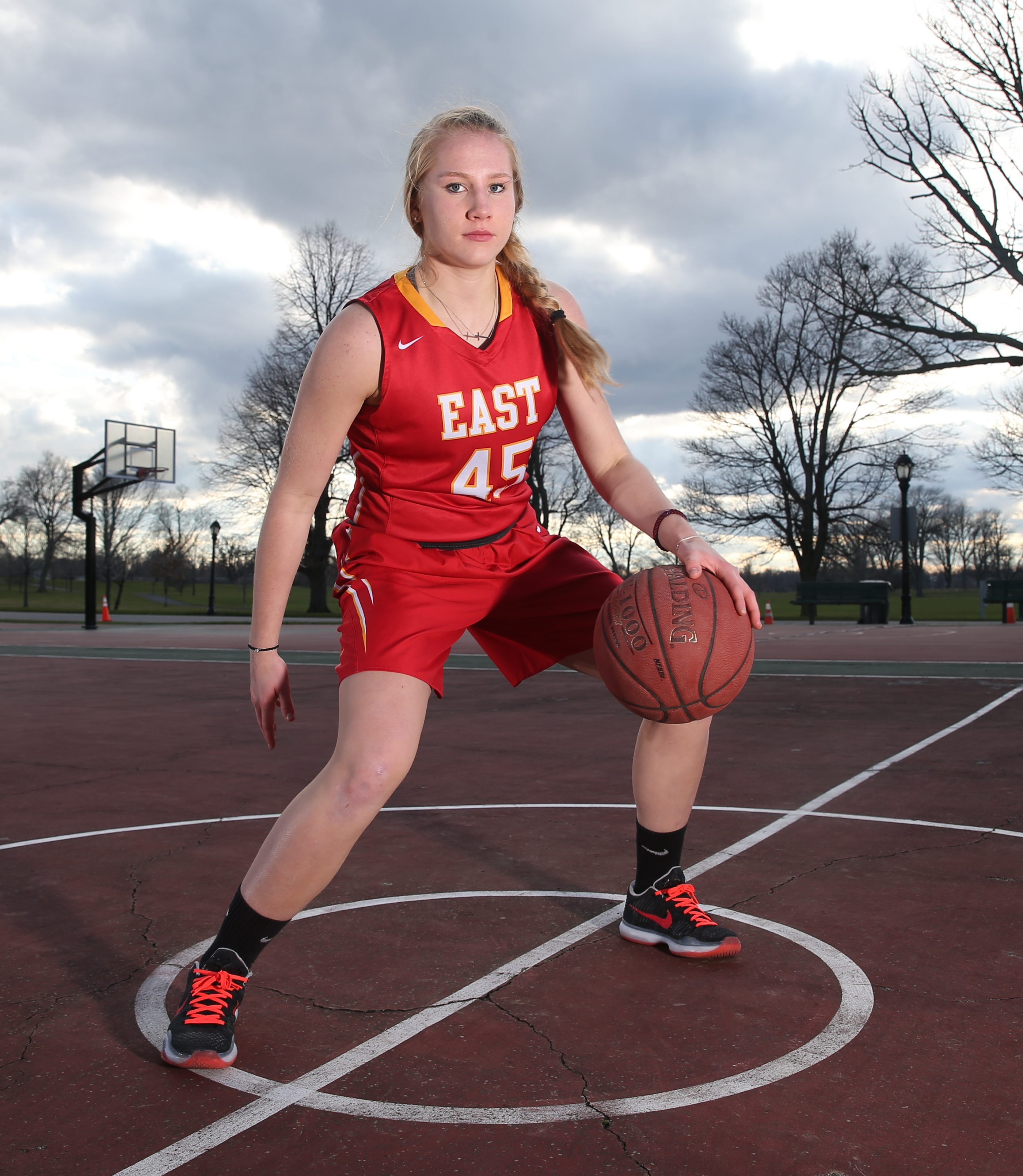 All Western NY basketball player Erica Martinsen of  Williamsville East poses for a cover shot at Delaware Park in Buffalo,NY on Tuesday, April 12, 2016.  (James P. McCoy/ Buffalo News)