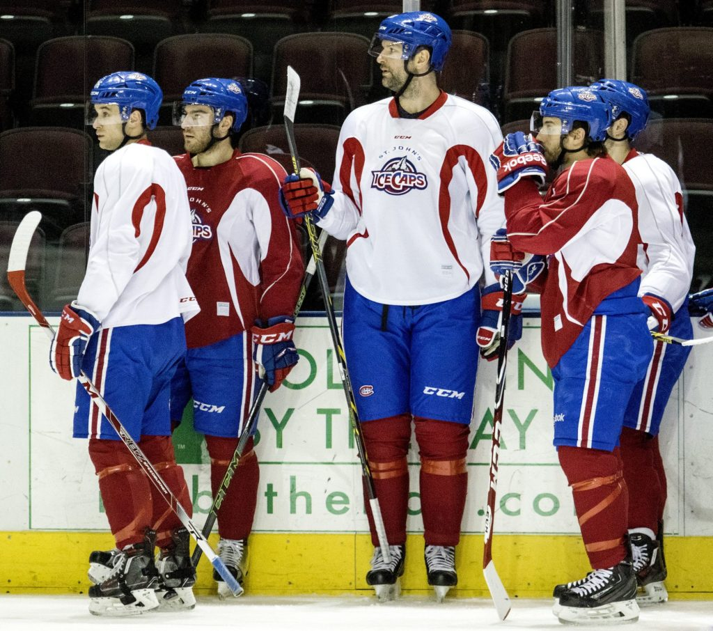 John Scott stood out among his St. John's teammates -- and no just because he bame MVP of the NHL All-Star Game. (Gabe Souza/Portland Press Herald)