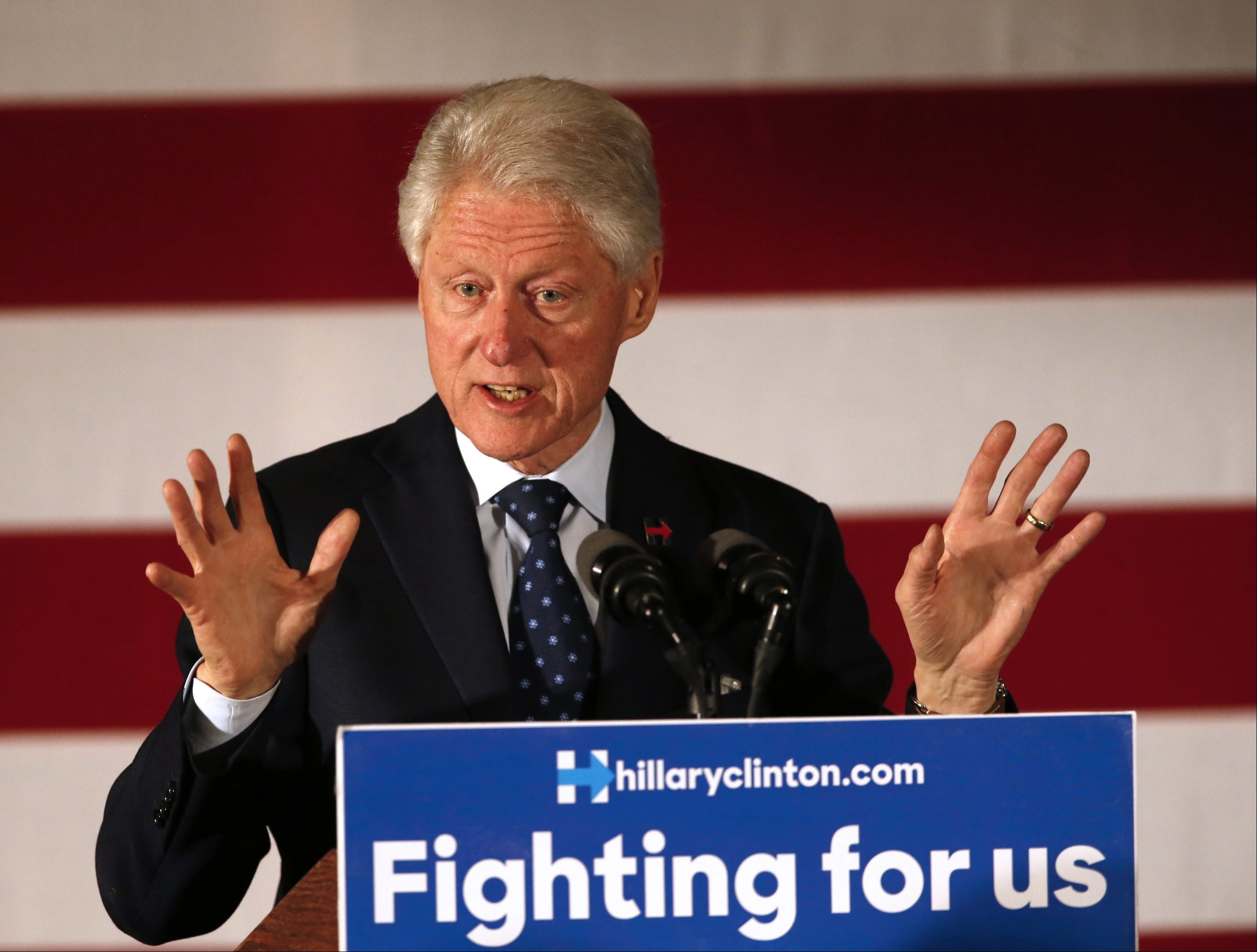 Former President Bill Clinton speaking during the campaign stop for his wife Hillary Clinton at the Grapevine Restaurant in Depew on Tuesday, April 5, 2016.  (Robert Kirkham/Buffalo News)