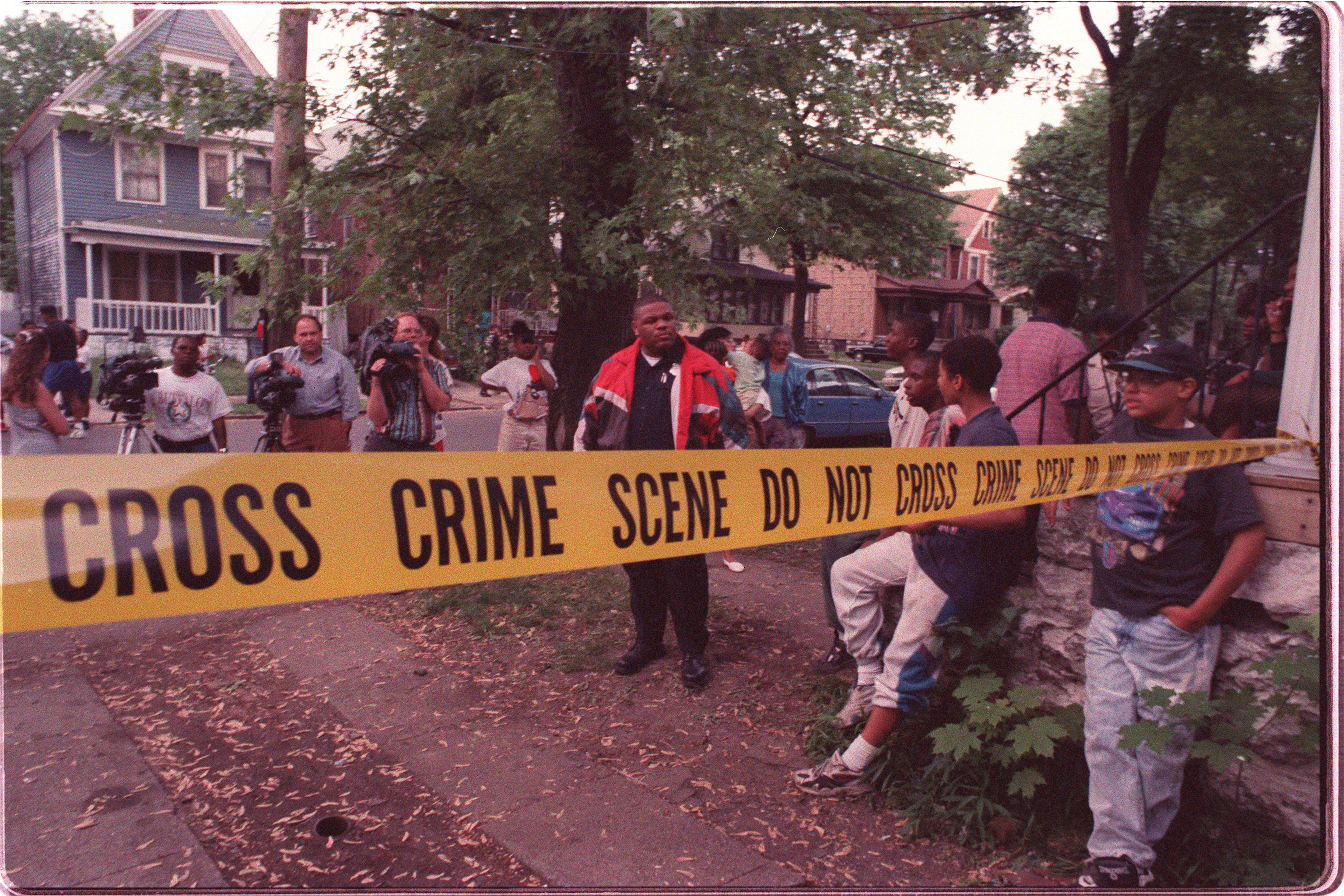 Police crime-scene marks the house where a crack cocaine-related homicide occurred on Leroy Avenue on June 10, 1994.  James P. McCoy/Buffalo News file photo