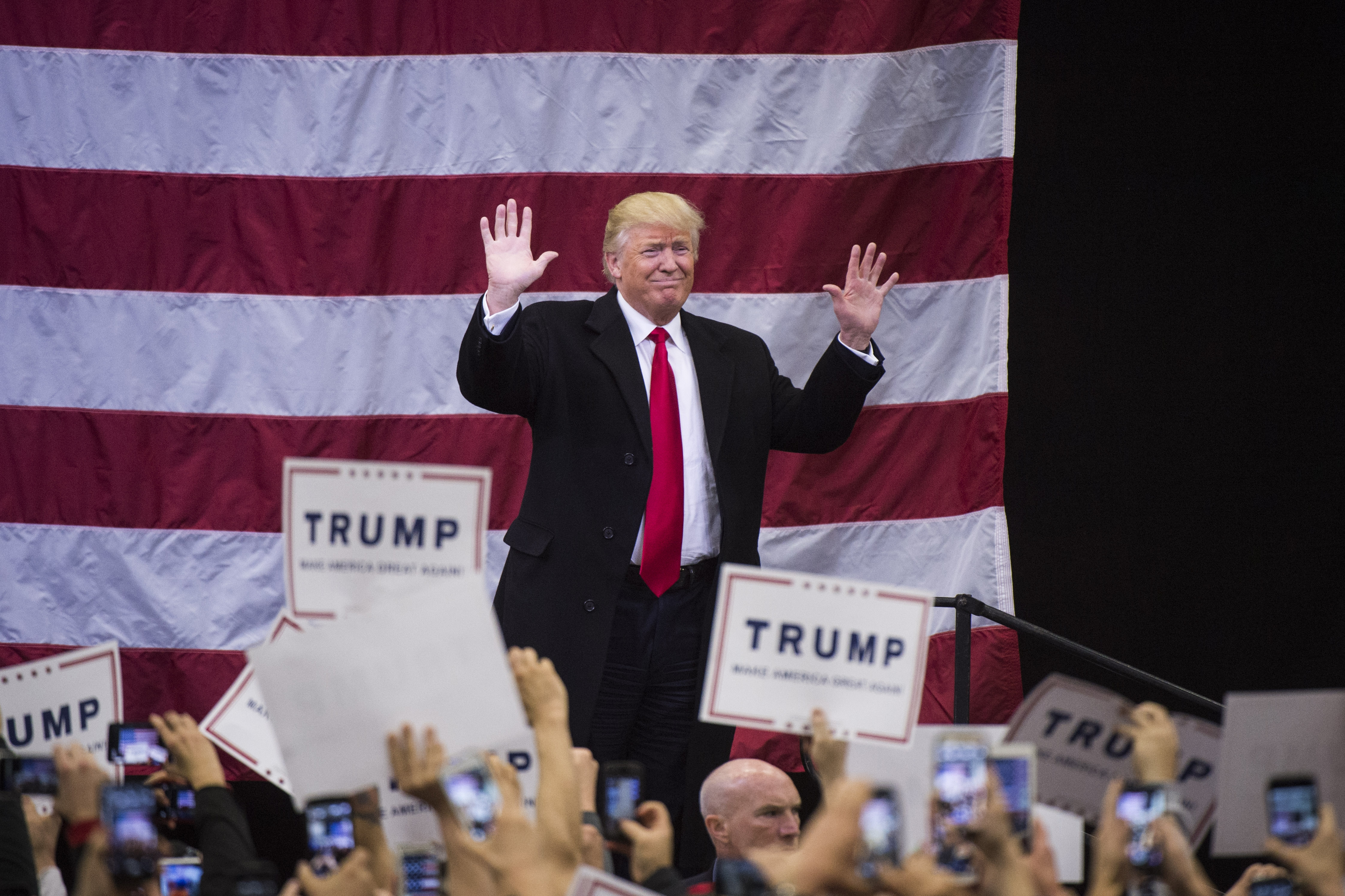 Republican presidential candidate Donald Trump is seen at a campaign event at Griffiss International Airport in Rome, N.Y., on April 12. (Washington Post)