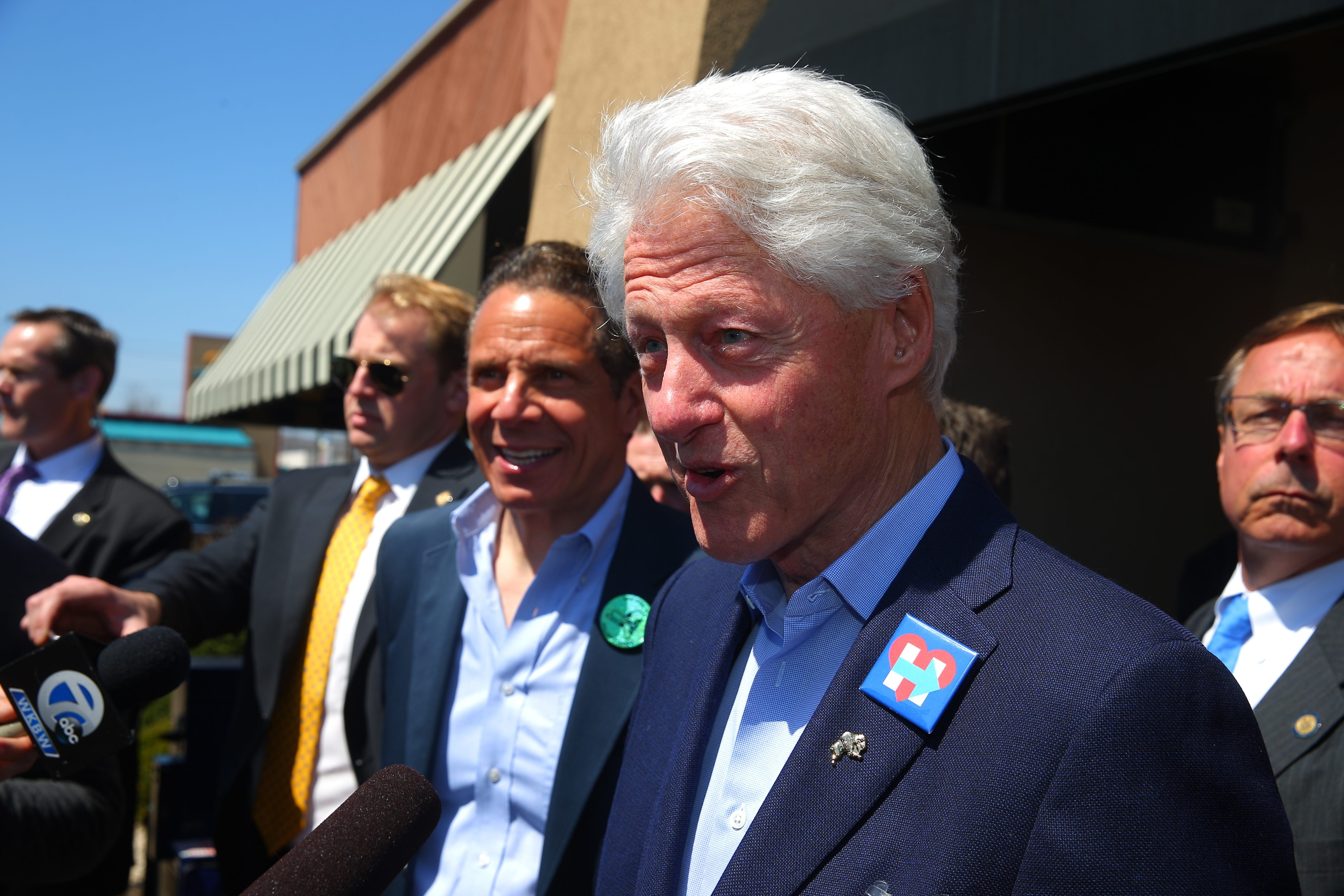 Former President Bill Clinton greeted lunchgoers at Alton's restaurant in Cheektowaga on Monday during a last-minute swing thru Western New York for his wife Hillary's campaign with Gov. Andrew Cuomo and a cadre of local politicians. (John Hickey/Buffalo News)