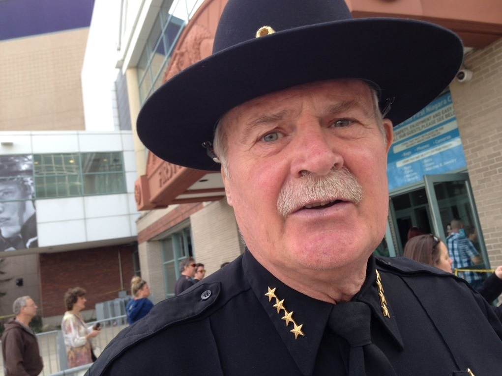 Erie County Sheriff Tim Howard, a co-chair of Donald Trump's campaign in New York State, outside Trump's rally at First Niagara Center on Monday. (Lou Michel/Buffalo News)