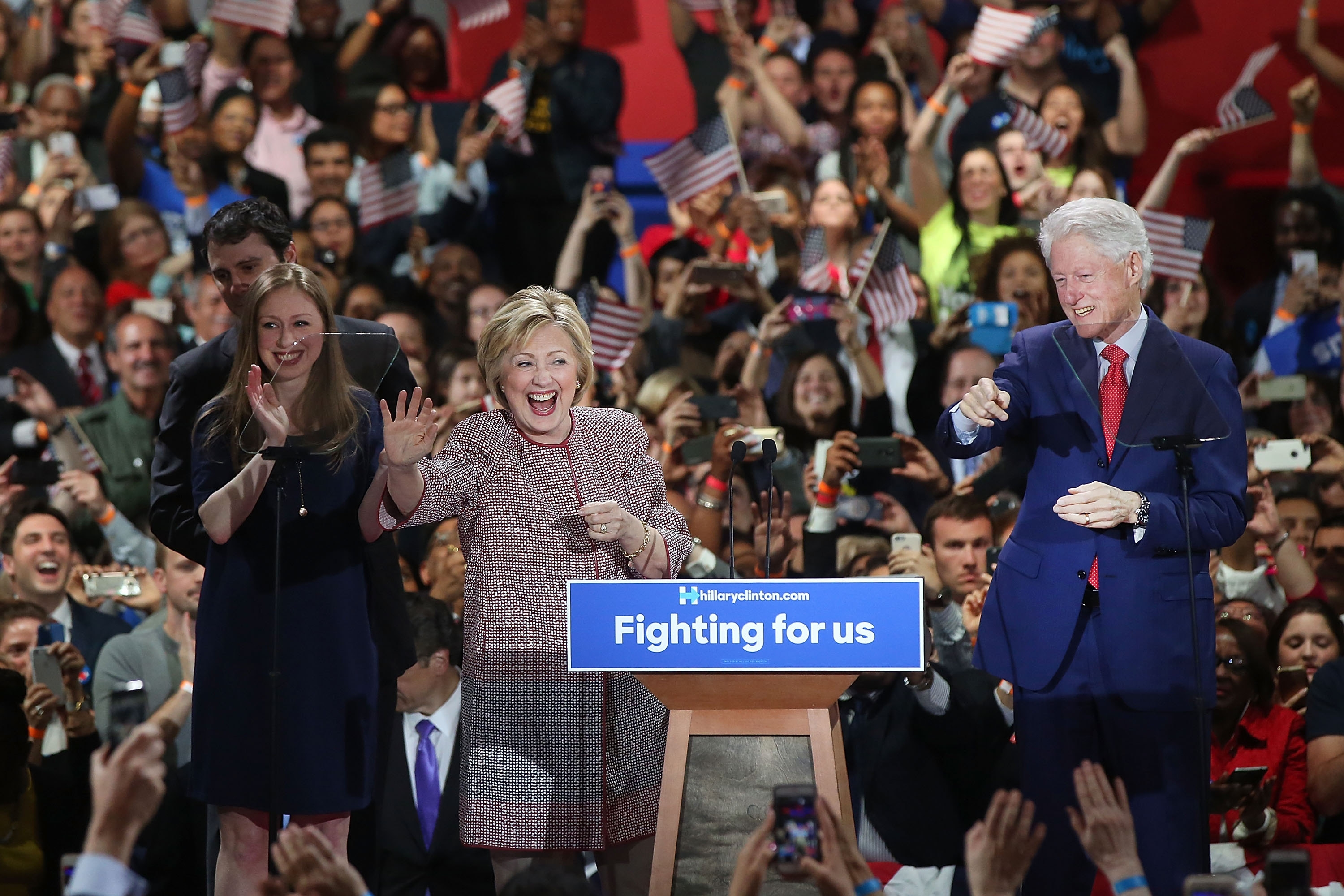 NEW YORK, NY - APRIL 19:  Democratic presidential candidate Hillary Clinton walks on stage with her husband Bill Clinton, daughter Chelsea and son-in-law Marc Mezvinsky after winning the highly contested New York primary on April 19, 2016 in New York City. Clinton, who had enjoyed a large lead over her rival Bernie Sanders only months ago, saw that lead shrink as the Sanders campaign made inroads with younger and more liberal voters.  (Photo by Spencer Platt/Getty Images)