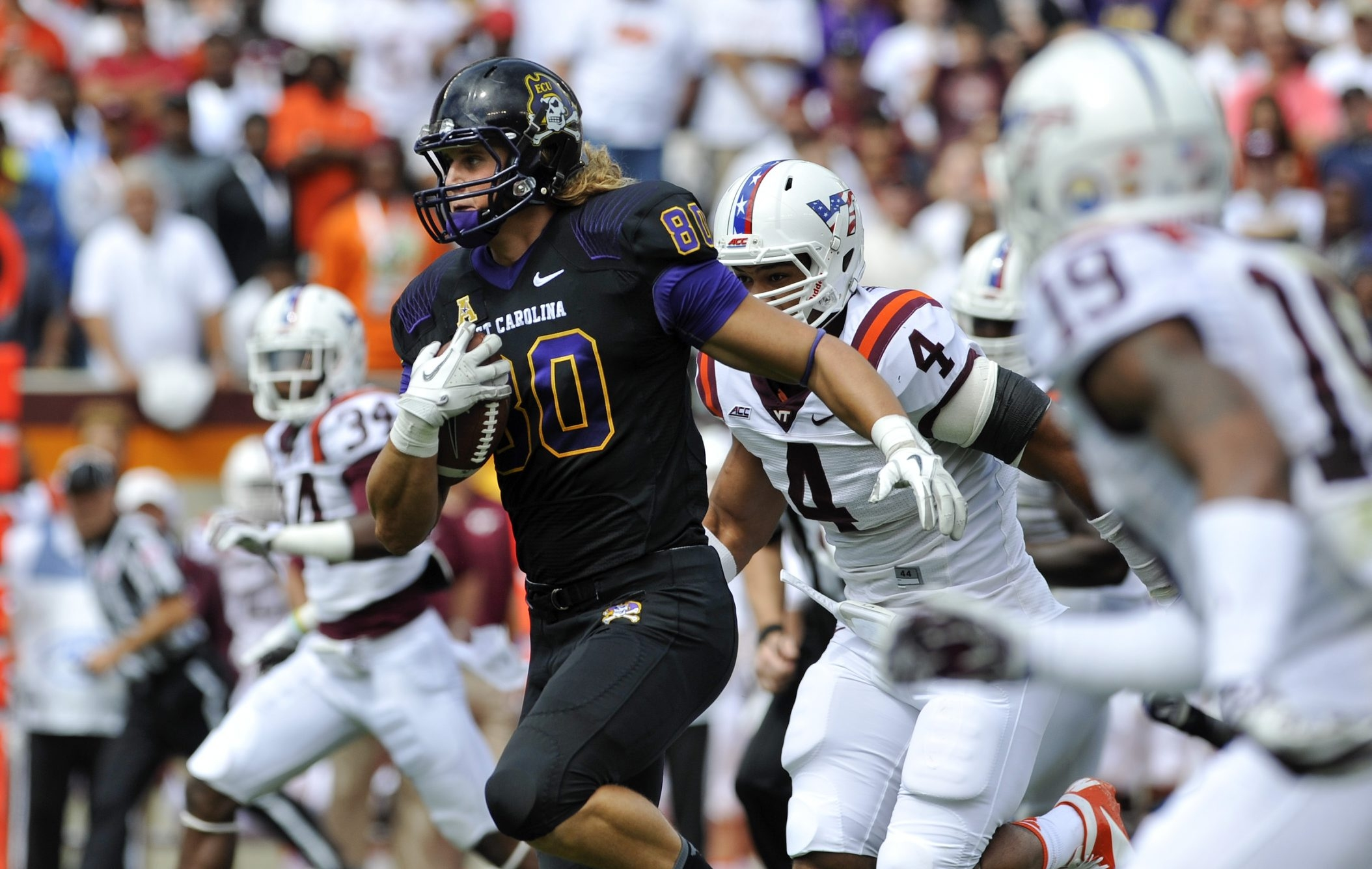 Tight end Bryce Williams of the East Carolina Pirates made all-American Athletic Conference in three consecutive seasons.