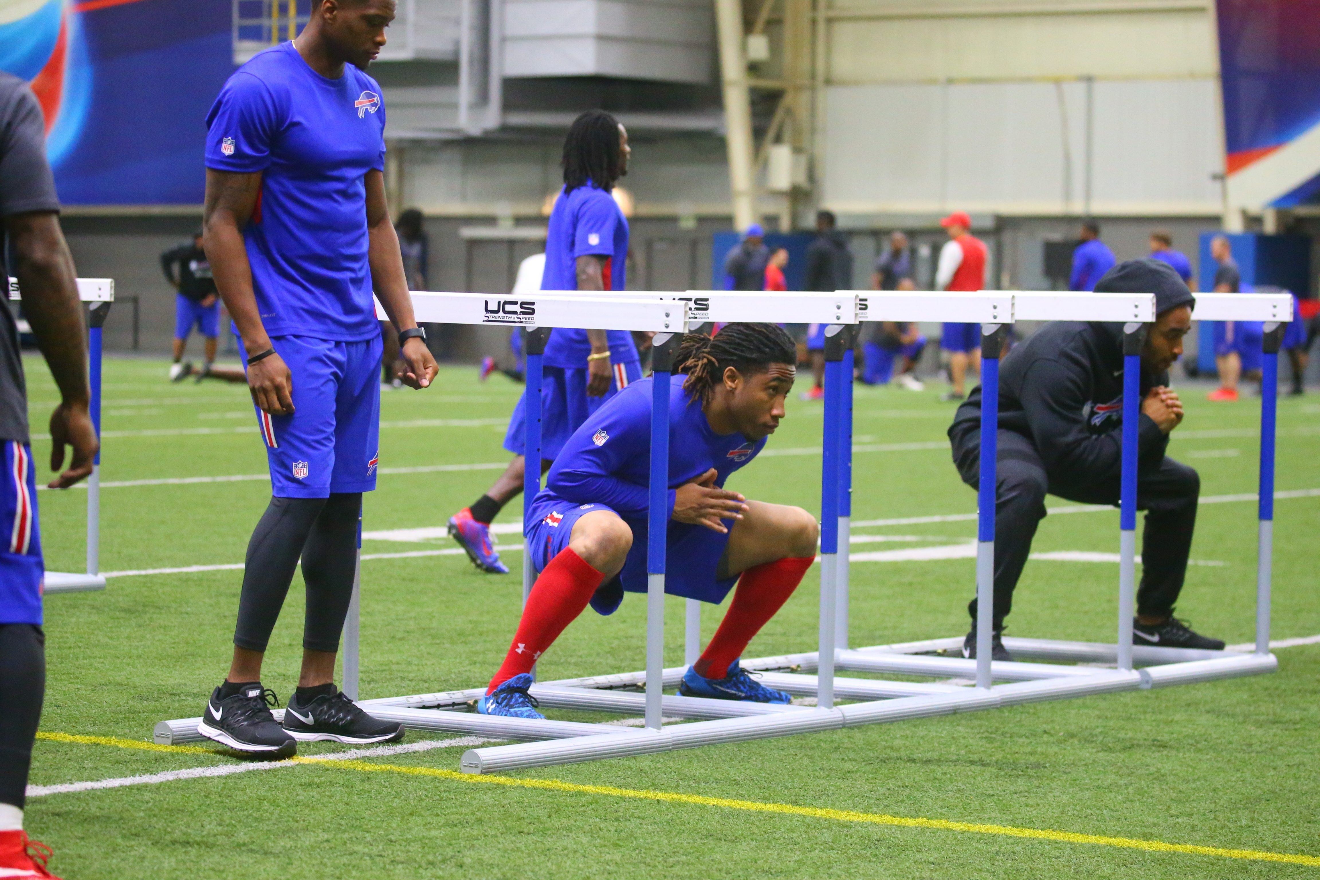 Buffalo Bills cornerback Ronald Darby, center, attends voluntary offseason workouts Monday at the Buffalo Bills FieldHouse in Ralph Wilson Stadium in Orchard Park.