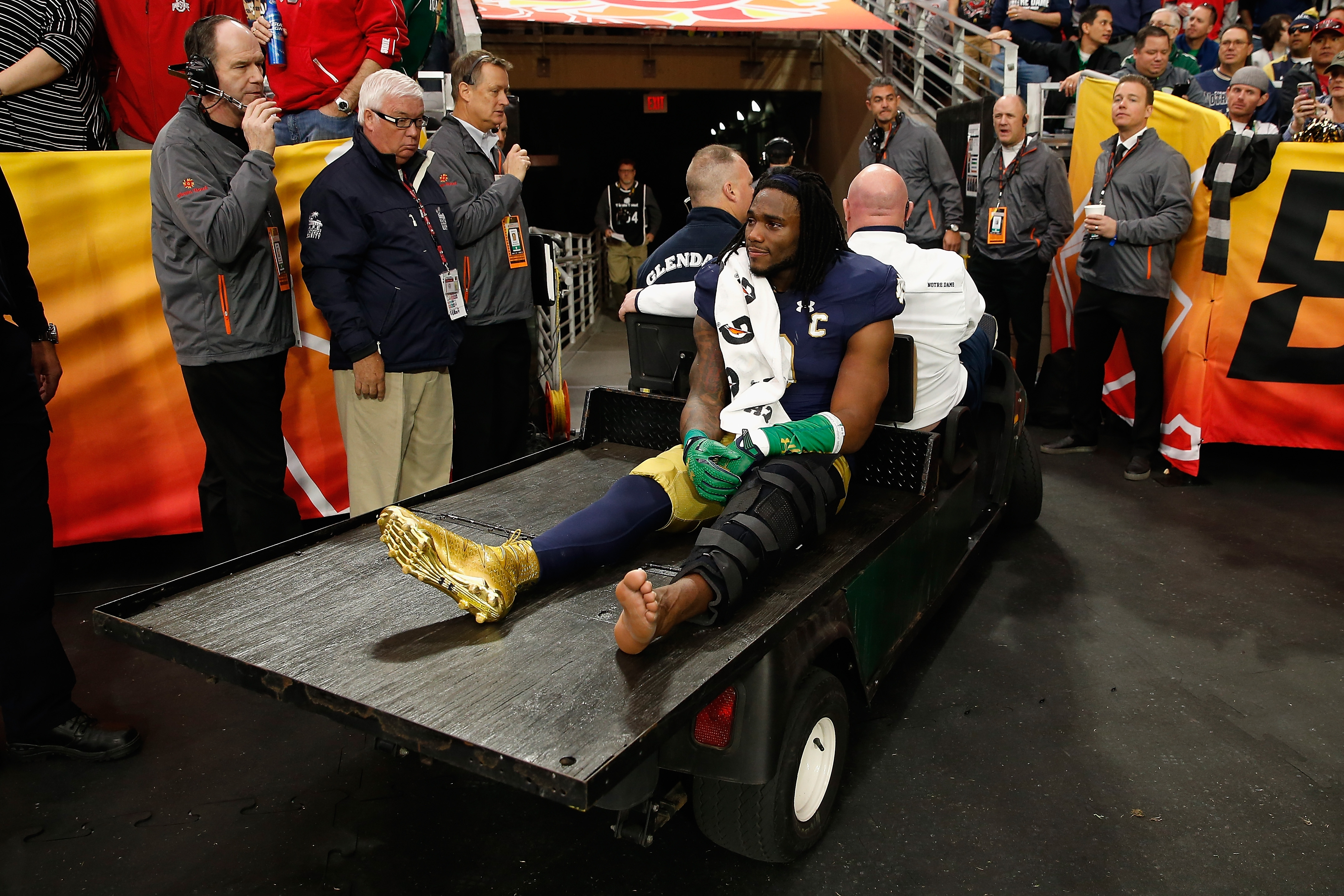 Notre Dame linebacker Jaylon Smith is carted off the field after an injury during the first quarter of the Fiesta Bowl against Ohio State on Jan. 1. (Getty Images)