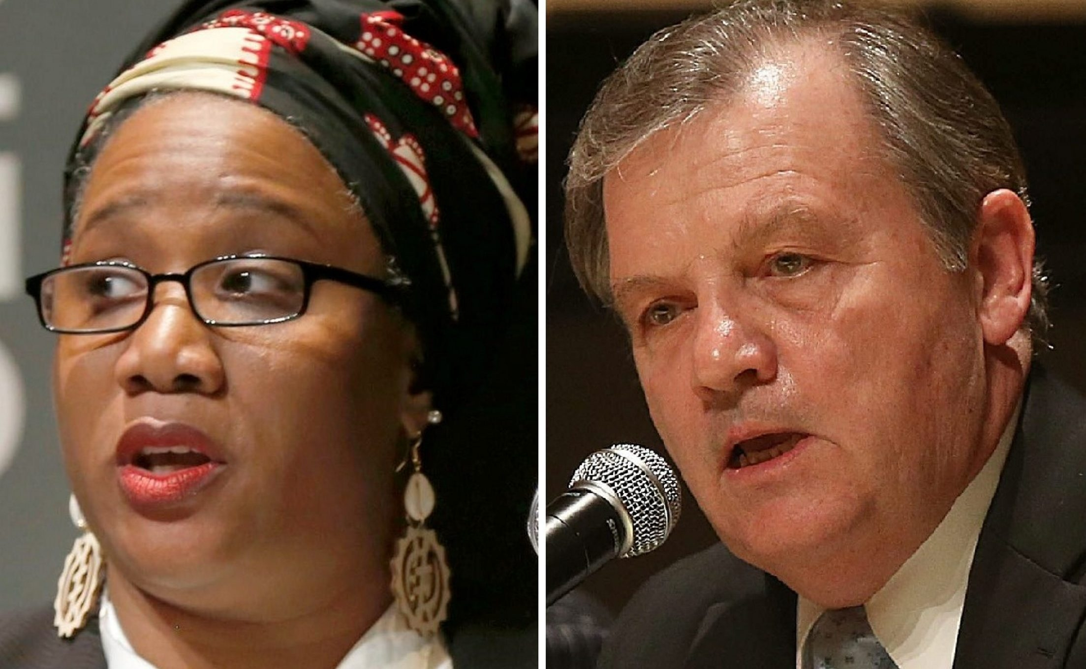 East District candidate Patricia A. Elliott and West District incumbent James Sampson, the School Board president, will mount write-in campaigns after being knocked off ballot for having insufficient signatures.
