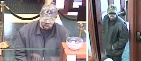 Surveillance images of the suspect in the robbery of a Northwest Savings Bank on Meadow Drive in North Tonawanda on April 27. (North Tonawanda Police)