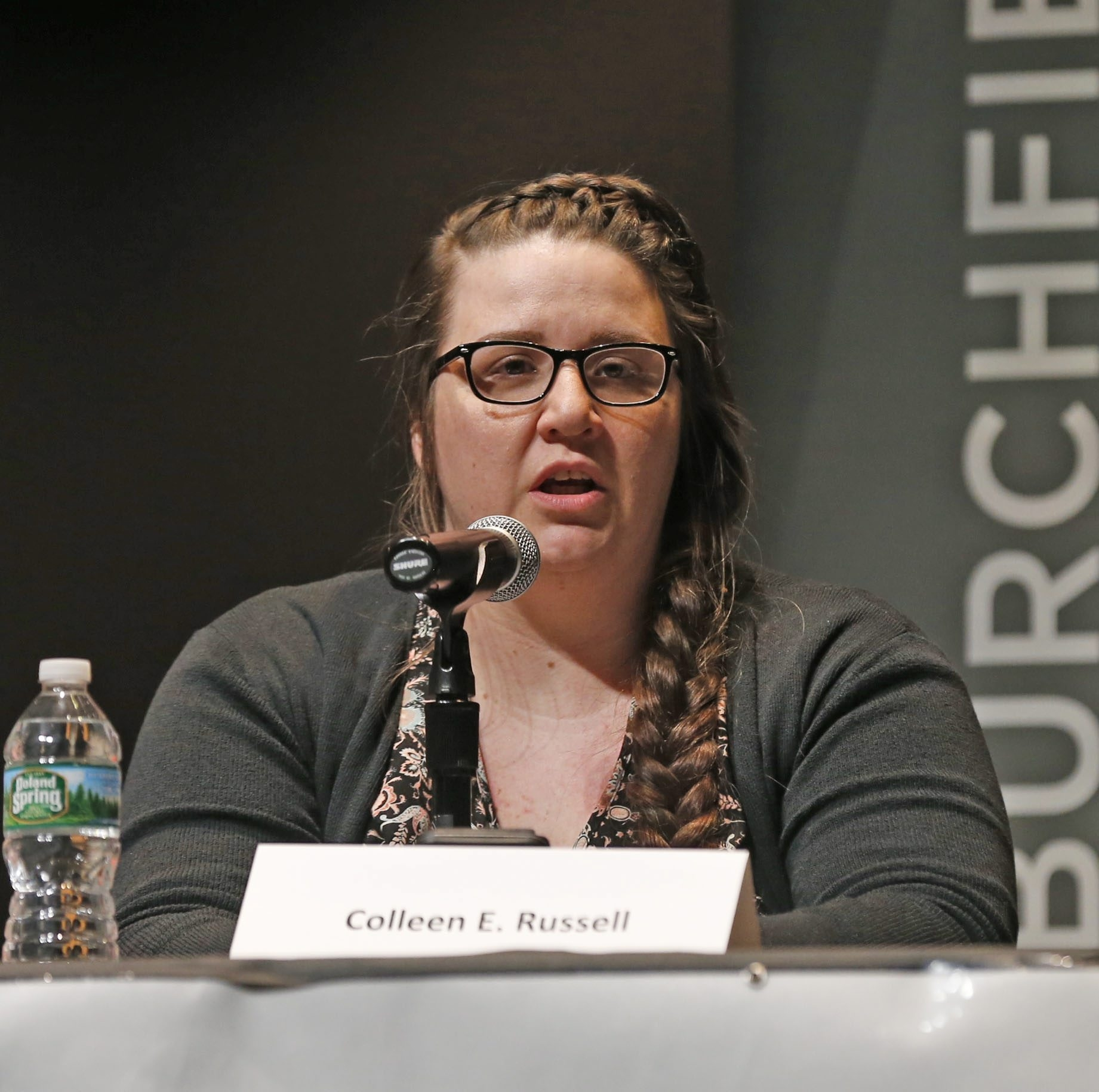 Colleen E. Russell, speaking at a forum for Buffalo School Board candidates, has been knocked off the May 3 ballot.  (Robert Kirkham/Buffalo News)