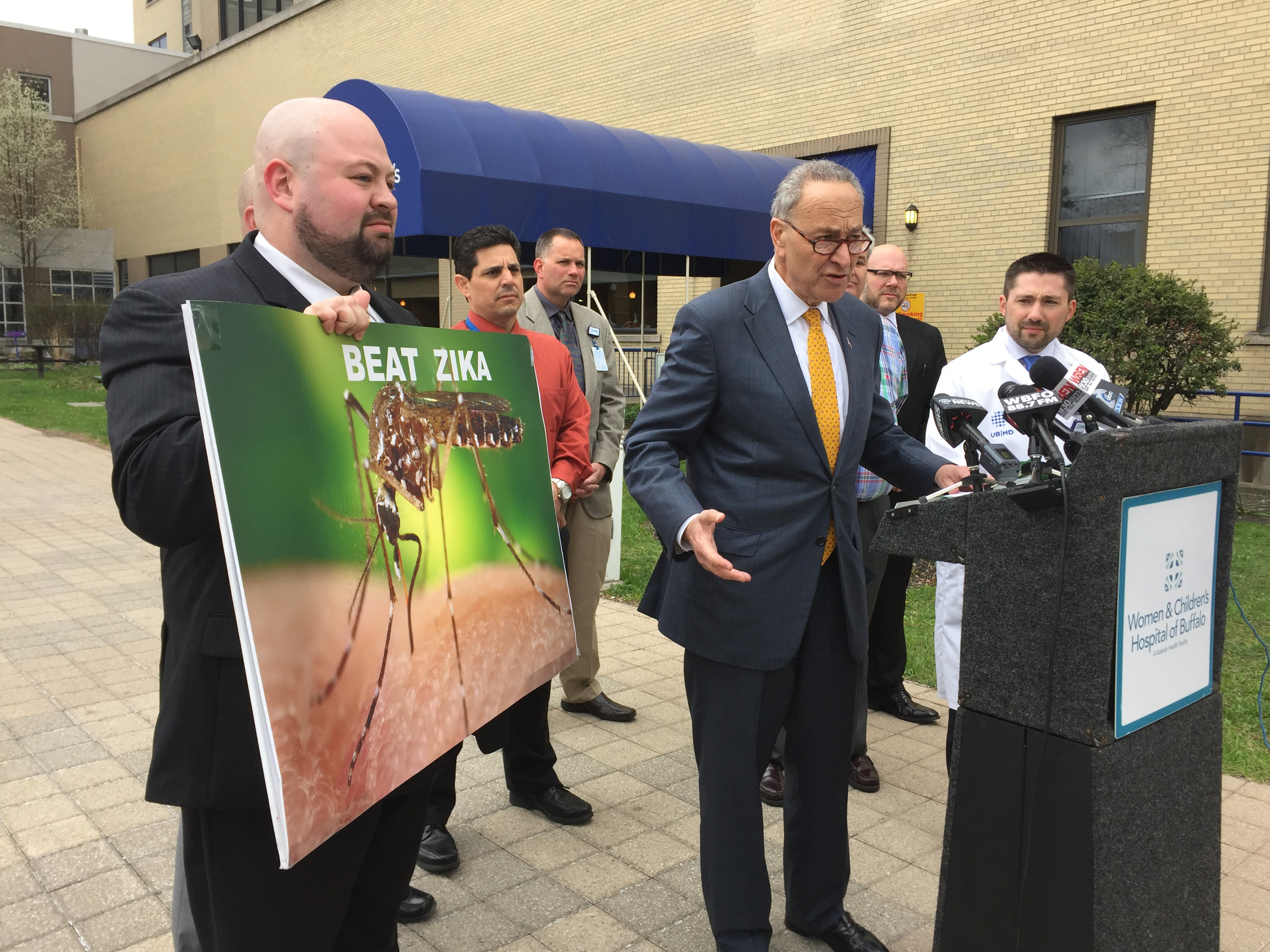 Sen. Charles Schumer made an appearance in Buffalo Monday to call for swift approval of nearly $2 billion to fight the zika virus. (Aaron Besecker/Buffalo News)
