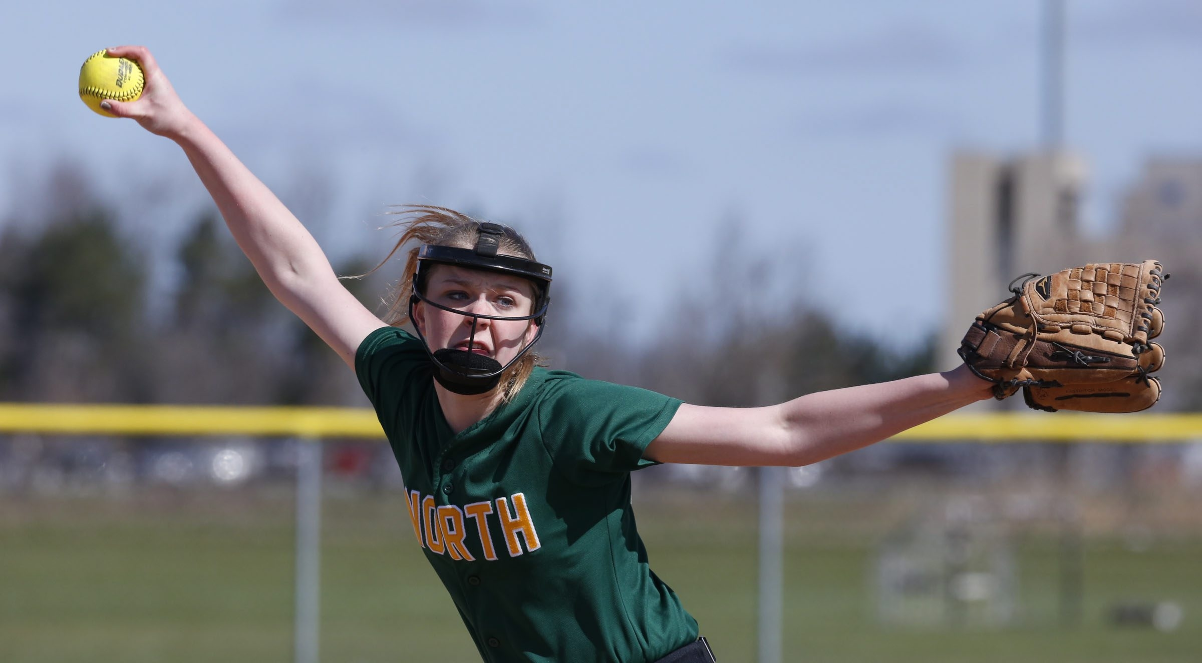 Williamsville North's Morgan Simon delivers a pitch against Sacred Heart on Saturday during action at the Northtown Center in the Gerry Gentner Just Show Up Memorial Softball Tournament.