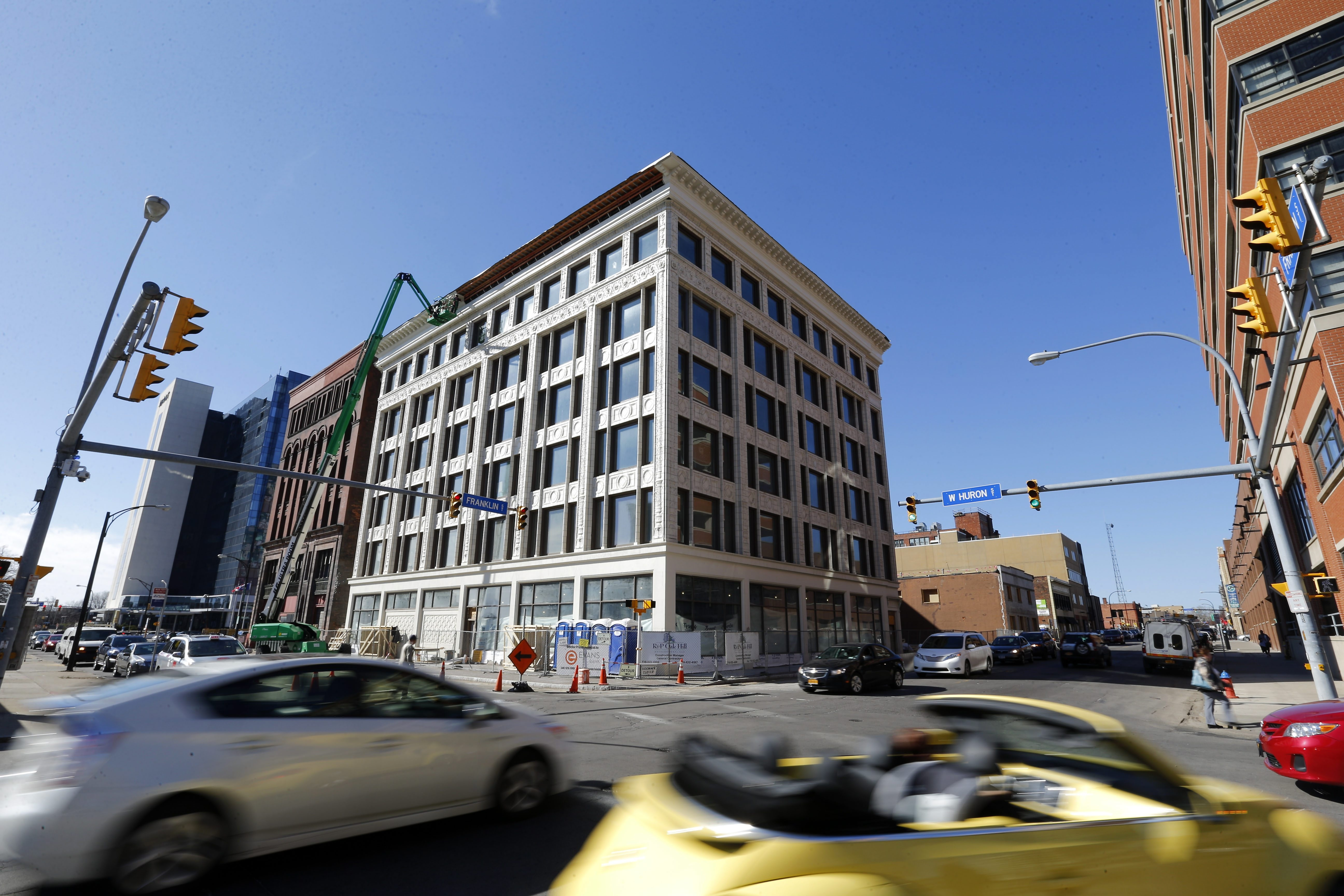 Construction continues on the Curtiss Hotel on Franklin Street, which will reopen later this year as a high-end hotel.