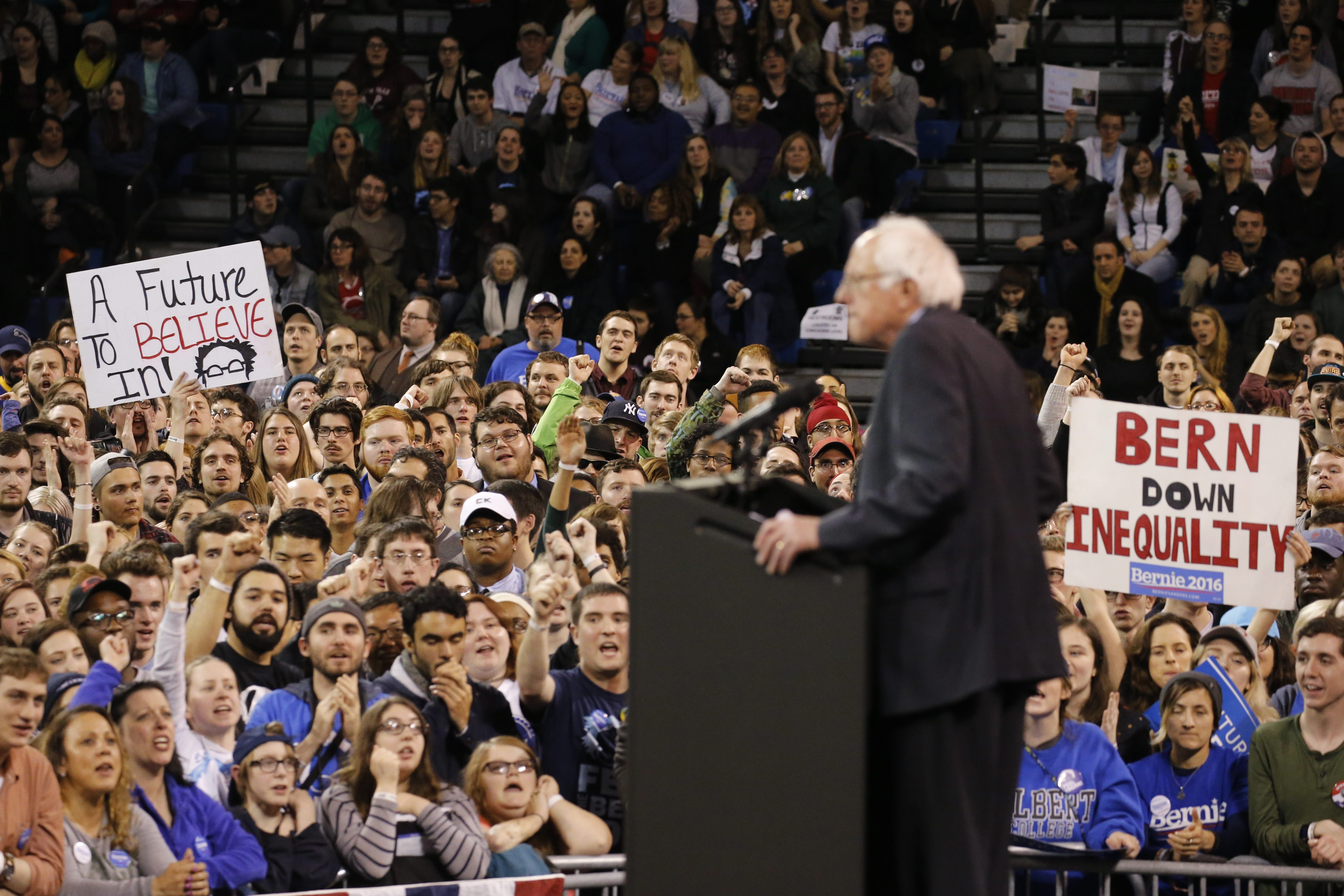 Sen. Bernie Sanders of Vermont speaks to thousands of his supporters during a campaign rally at the University at Buffalo's Alumni Arena on April 11, 2016.