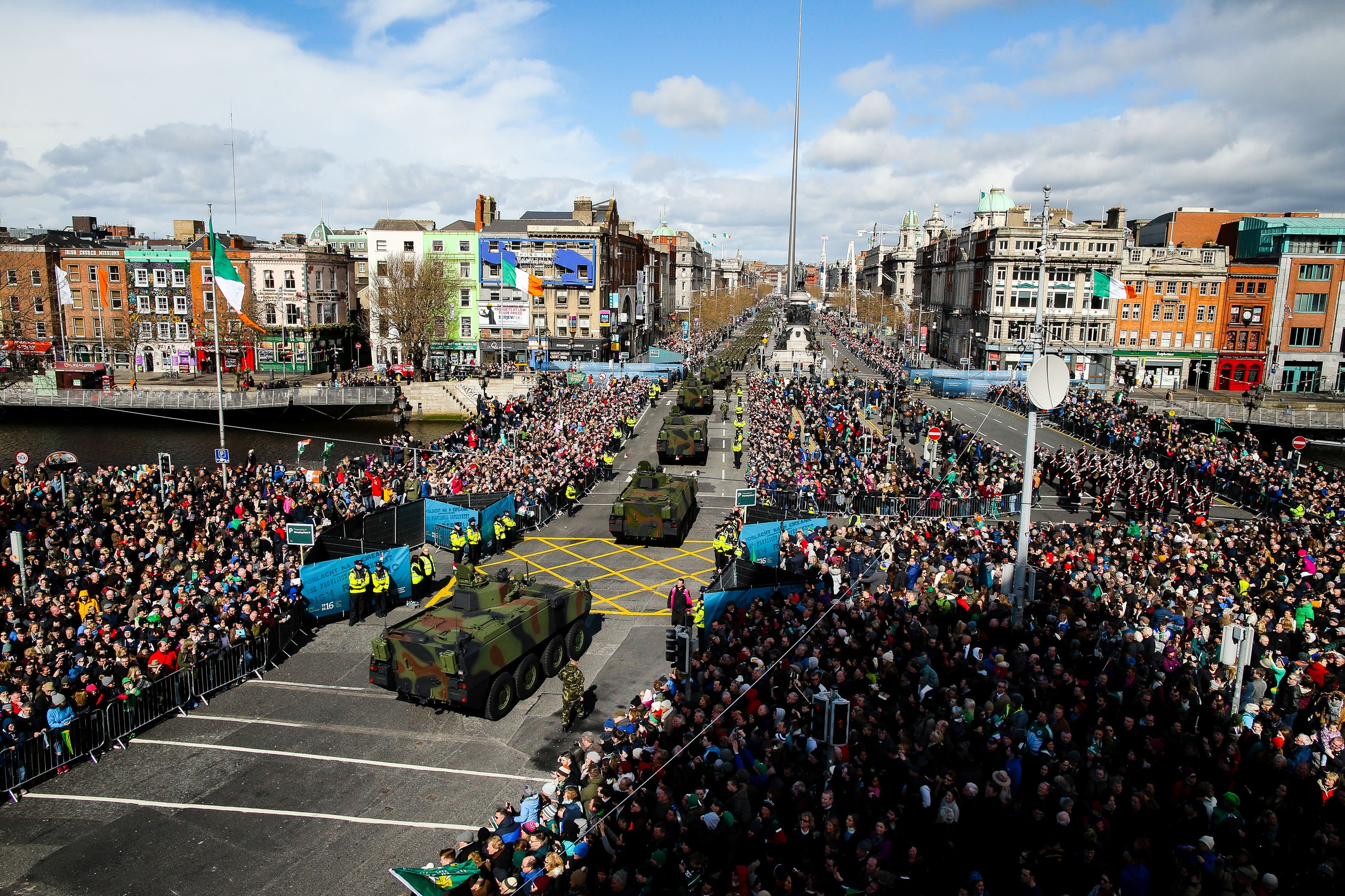 A general view of the parade commemorating the 100th anniversary of the Easter Rising in the Republic of Ireland, when in 1916 a rebellion was attempted to oust British rule of the country.