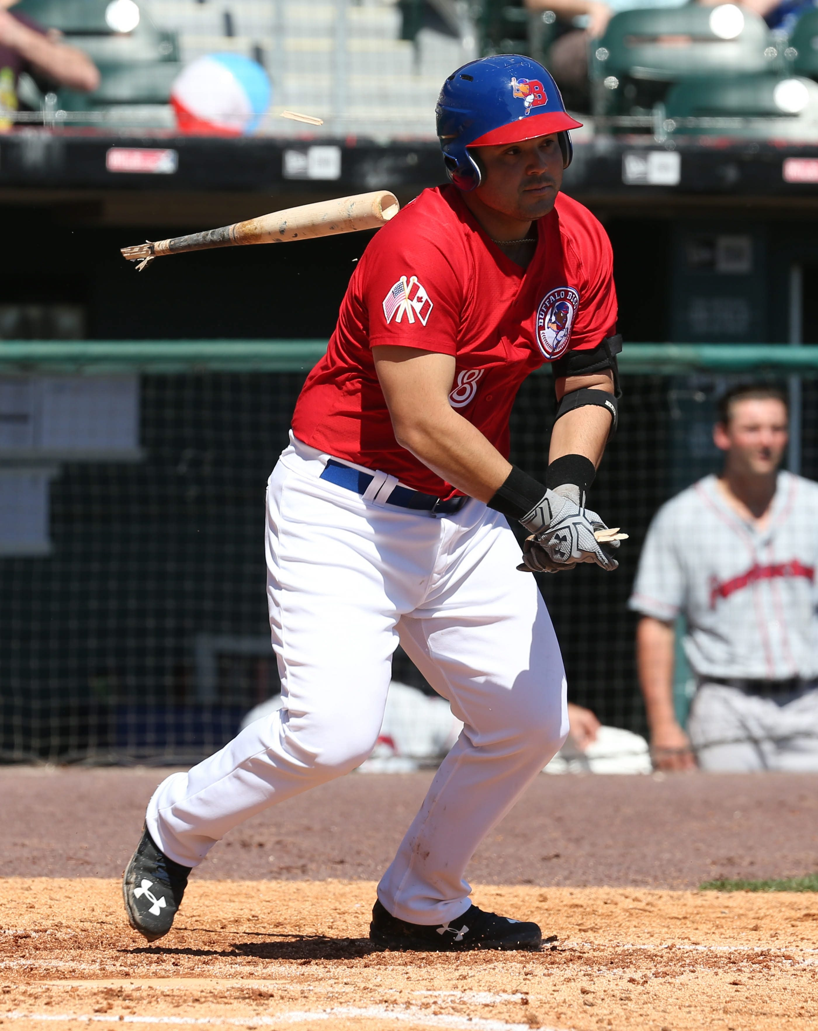 Buffalo's Jesus Montero had his bat shatter in his hands during the seventh inning of Sunday's loss to Pawtucket.