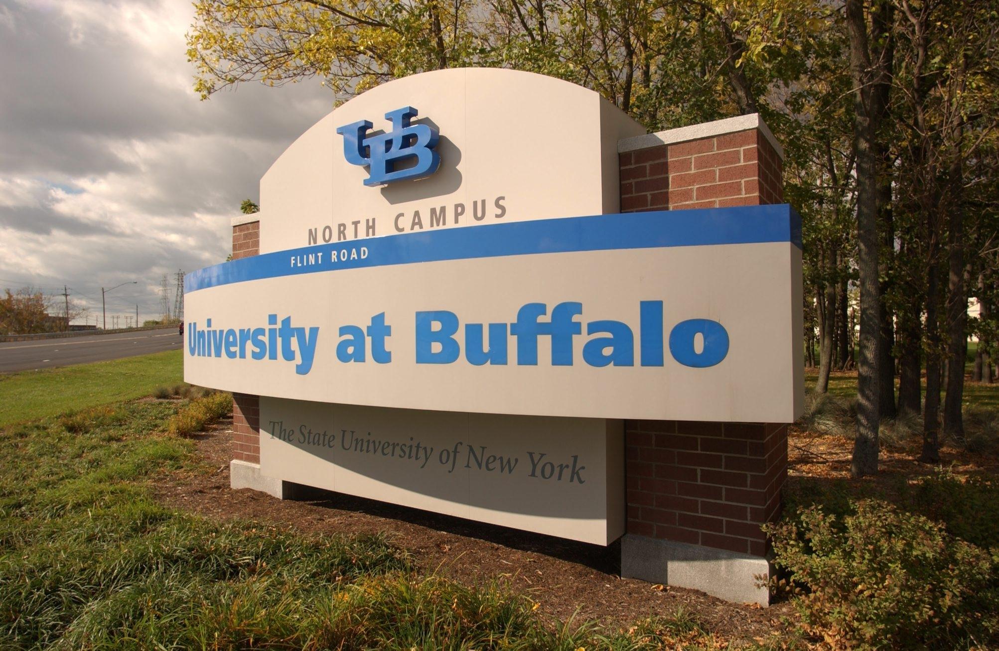 A sign welcomes visitors to UB's North Campus. (Robert Kirkham/Buffalo News)
