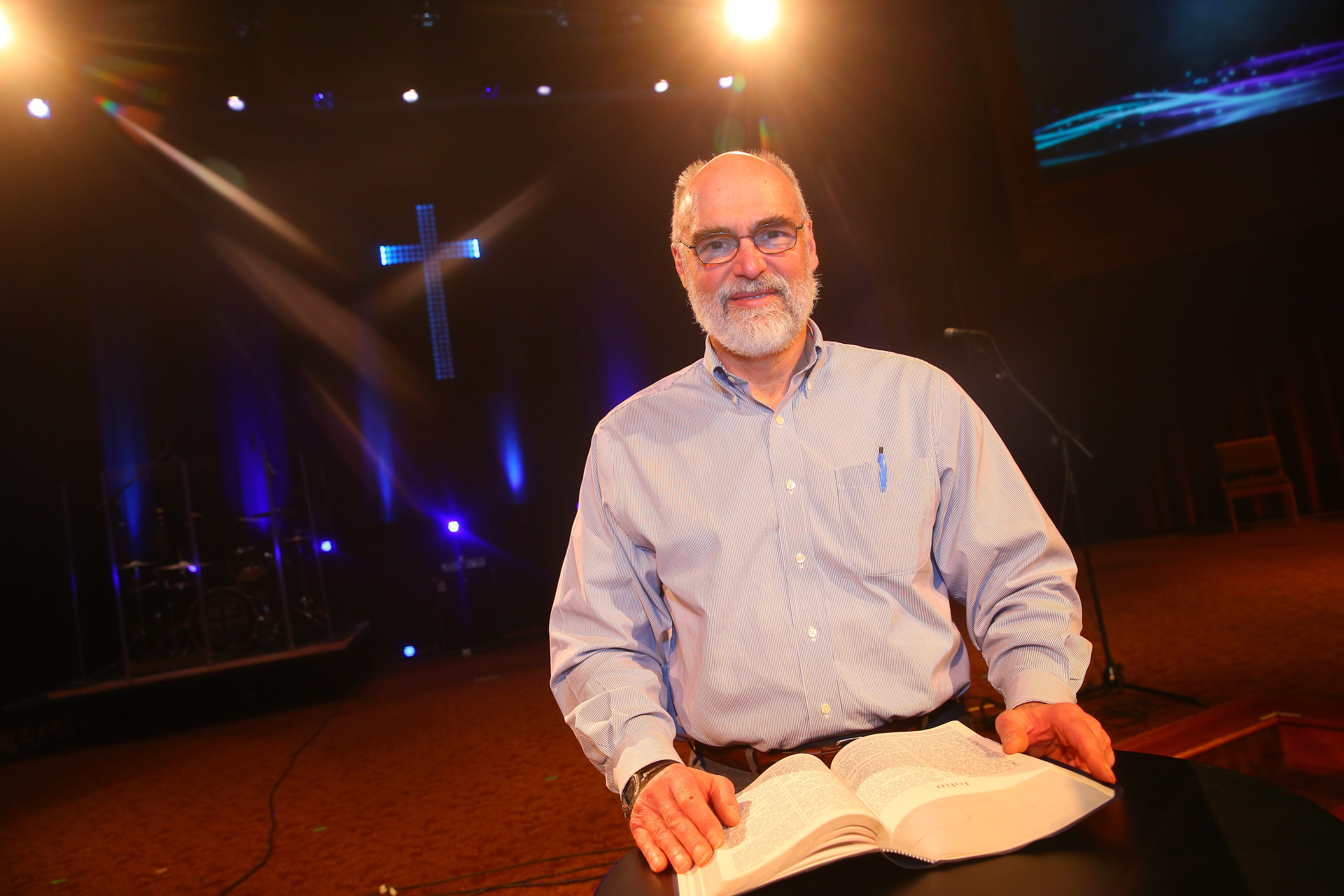 Rev. Greg McClain is retiring after leading Wesleyan Church in Hamburg for the past 38 years, at Wesleyan Church of Hamburg in Hamburg , N.Y., on Friday April 15, 2016. (John Hickey/Buffalo News)