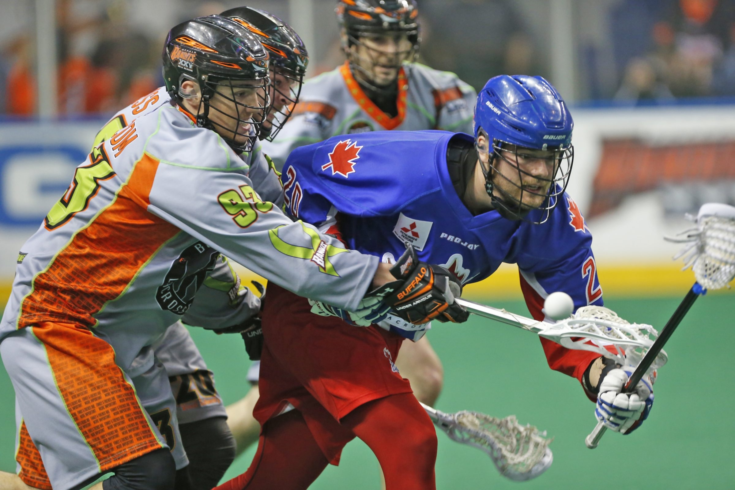 The Bandits' Anthony Malcom strips Toronto's Bradley Kri of possession during Saturday's win at First Niagara Center.
