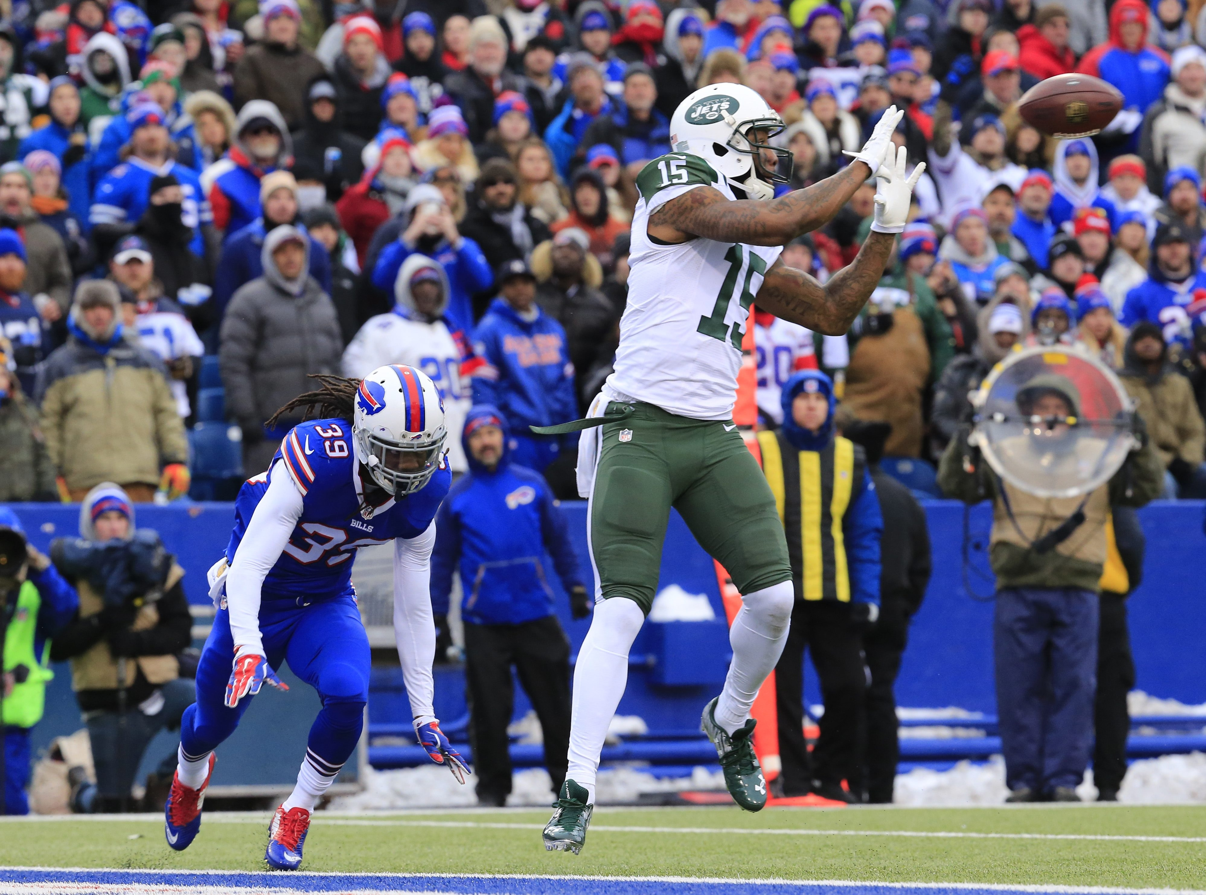 Brandon Marshall and the New York Jets – one of Rex Ryan's former employers – will be in Orchard Park for the Bills' home opener on a Thursday night in Week Two. (Harry Scull Jr./Buffalo News file photo)