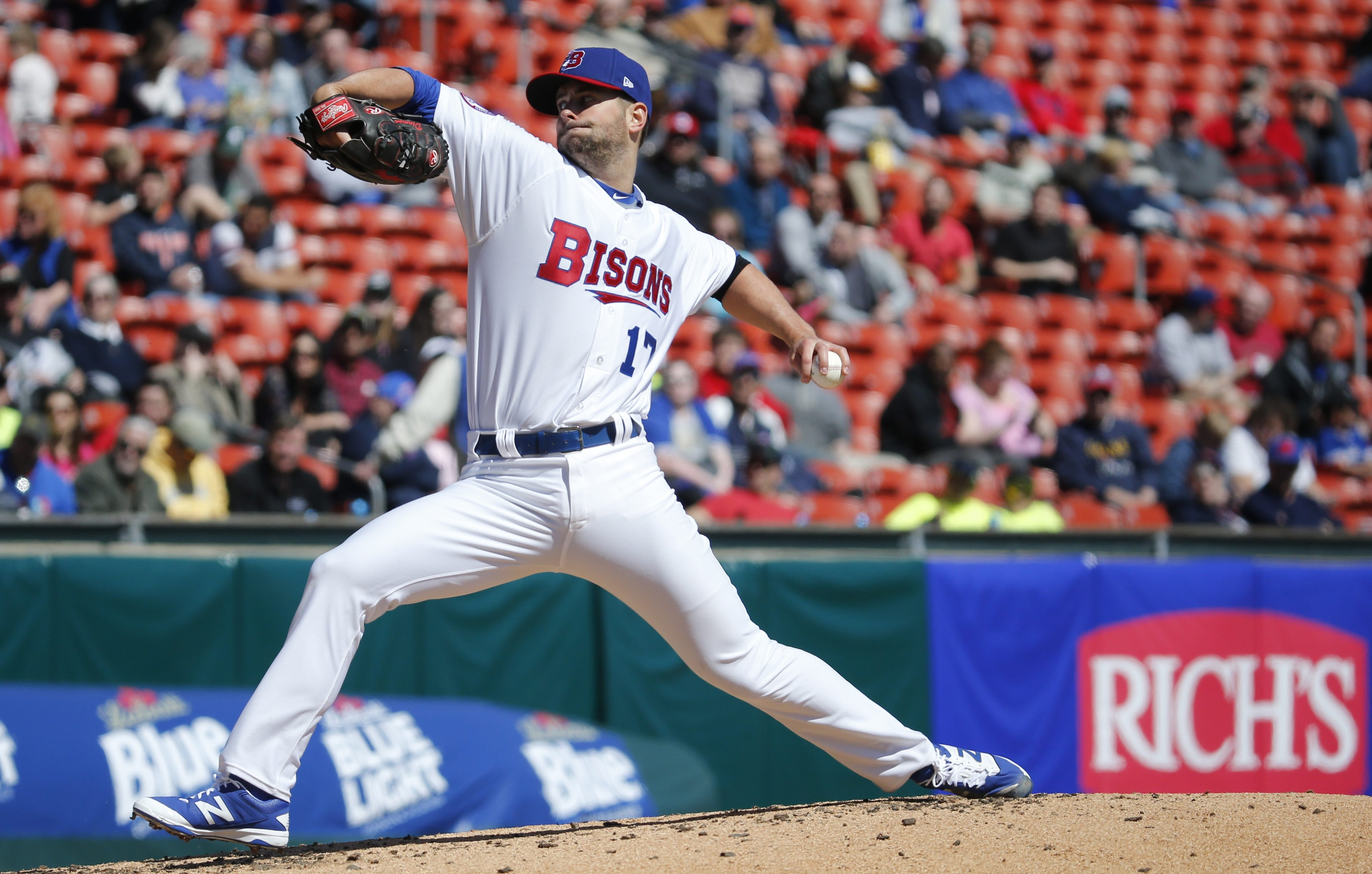 Buffalo Bisons pitcher Scott Diamond, winding up in the fourth inning, helped the Herd to a 2-1 win Thursday over the Rochester Red Wings.