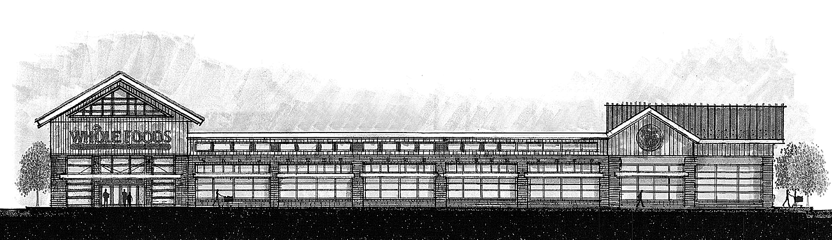 Sketch of the Whole Foods store planned for the Northtown Plaza in Amherst.
