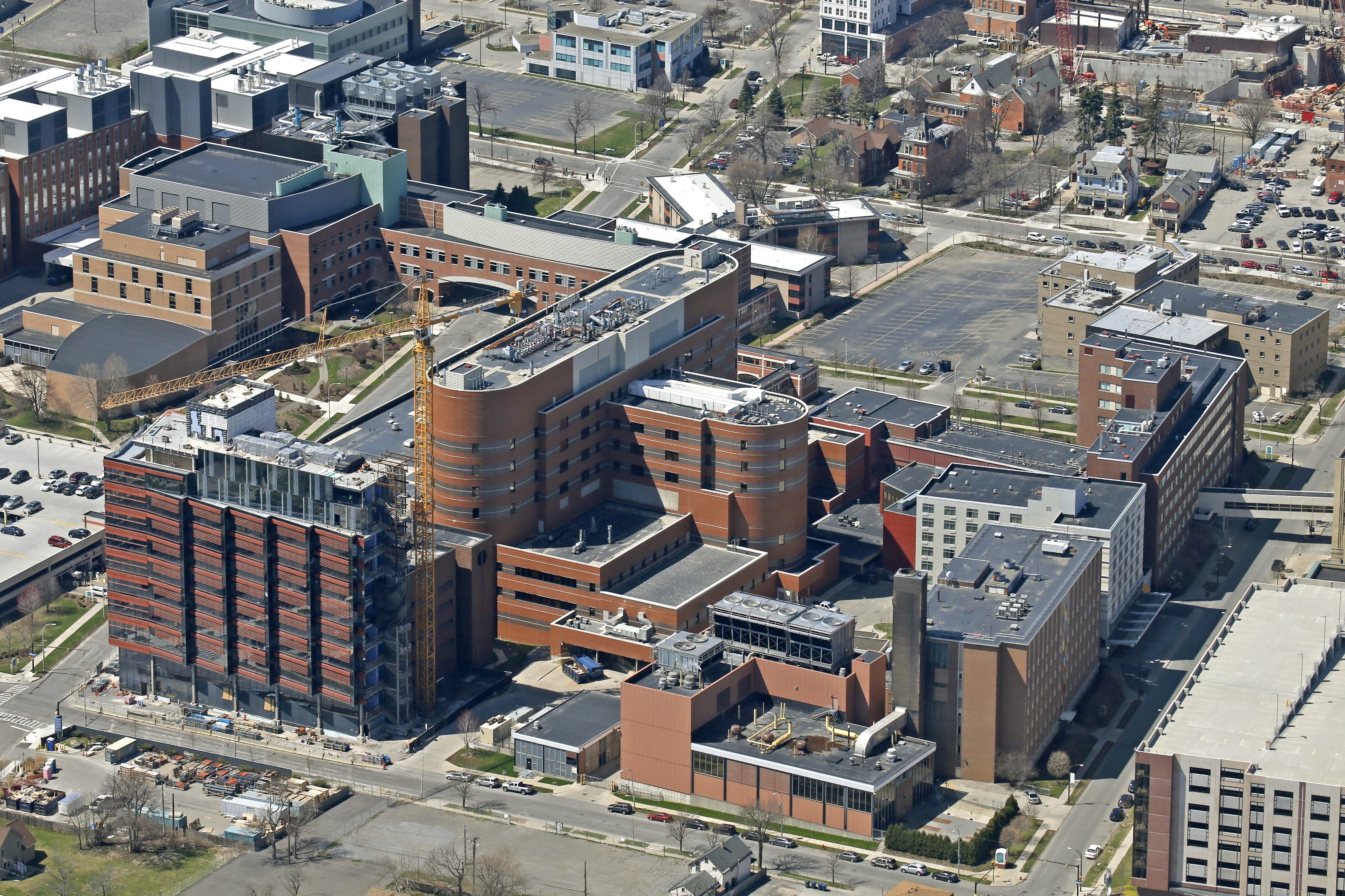 Aerial photograph of the Buffalo Niagara Medical Campus shows the Roswell Park Clinical Sciences Center at the bottom left. (Robert Kirkham/Buffalo News)