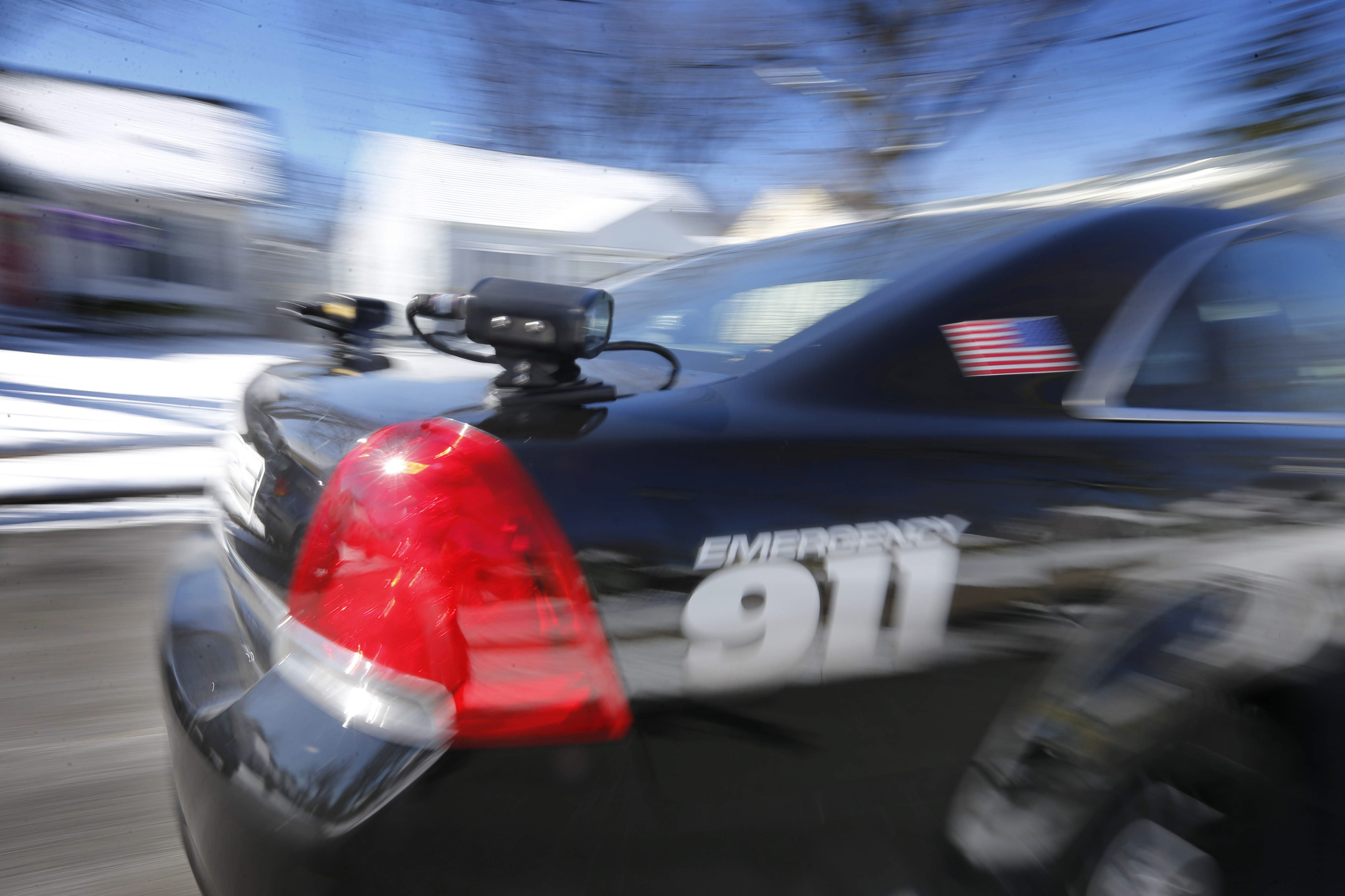 A license plate camera is shown mounted to the back of a Town of Tonawanda Police vehicle on patrol Tuesday. The cameras and connected software scan and record the date and location of every license plate the vehicle passes.