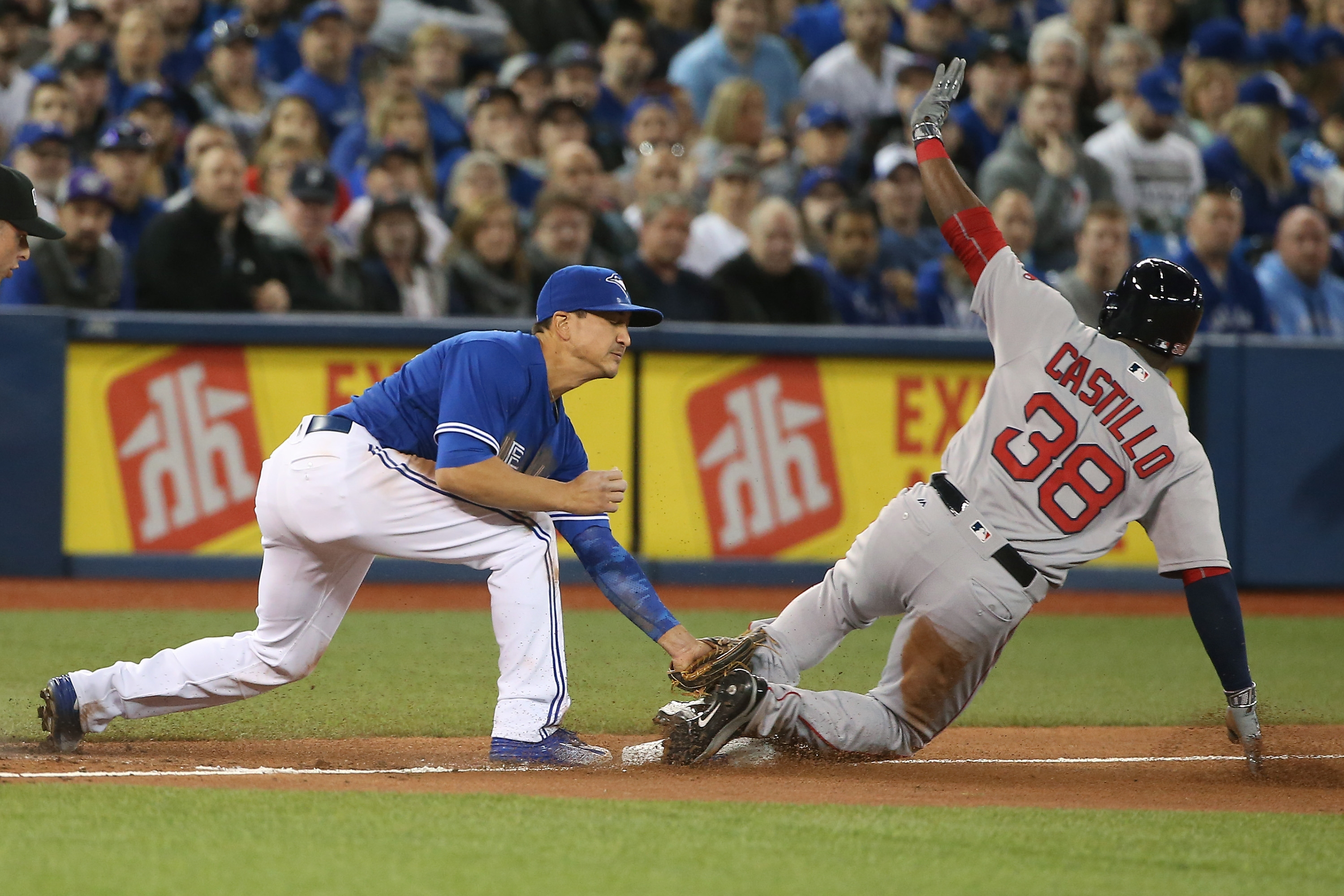 Rusney Castillo had two hits in his first start of the season for the Red Sox as Boston manager John Farrell hit all the right buttons during his team's 8-4 triumph over Toronto at Rogers Centre.