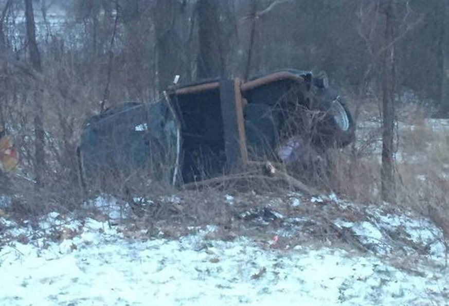 Photo from Lewiston police shows vehicle rollover blamed on icy conditions on Ridge Road in the town Friday morning.