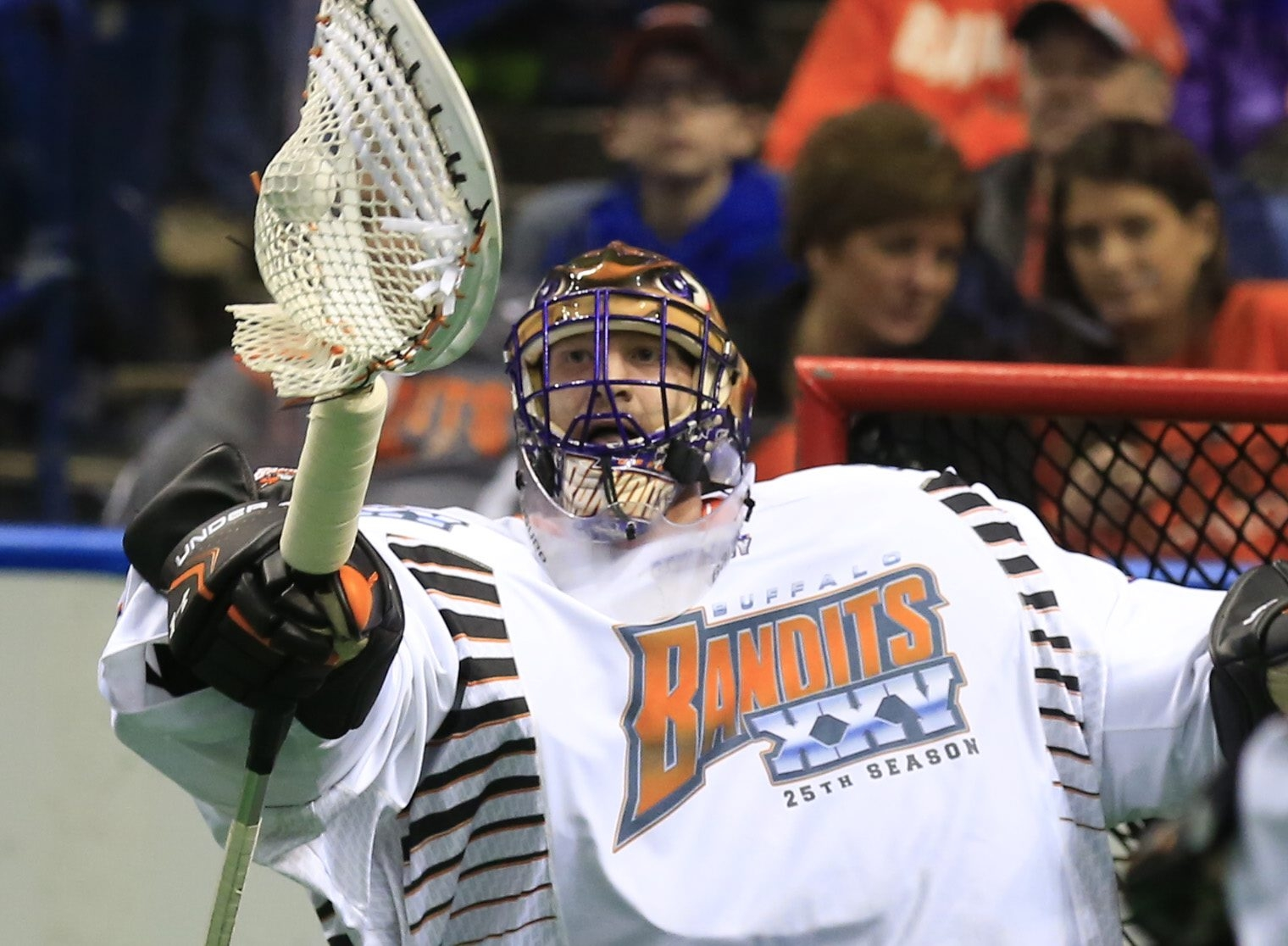 Buffalo Bandits goaltender Anthony Cosmo has played an integral role in the team's 9-4 start. (Harry Scull Jr./Buffalo News)