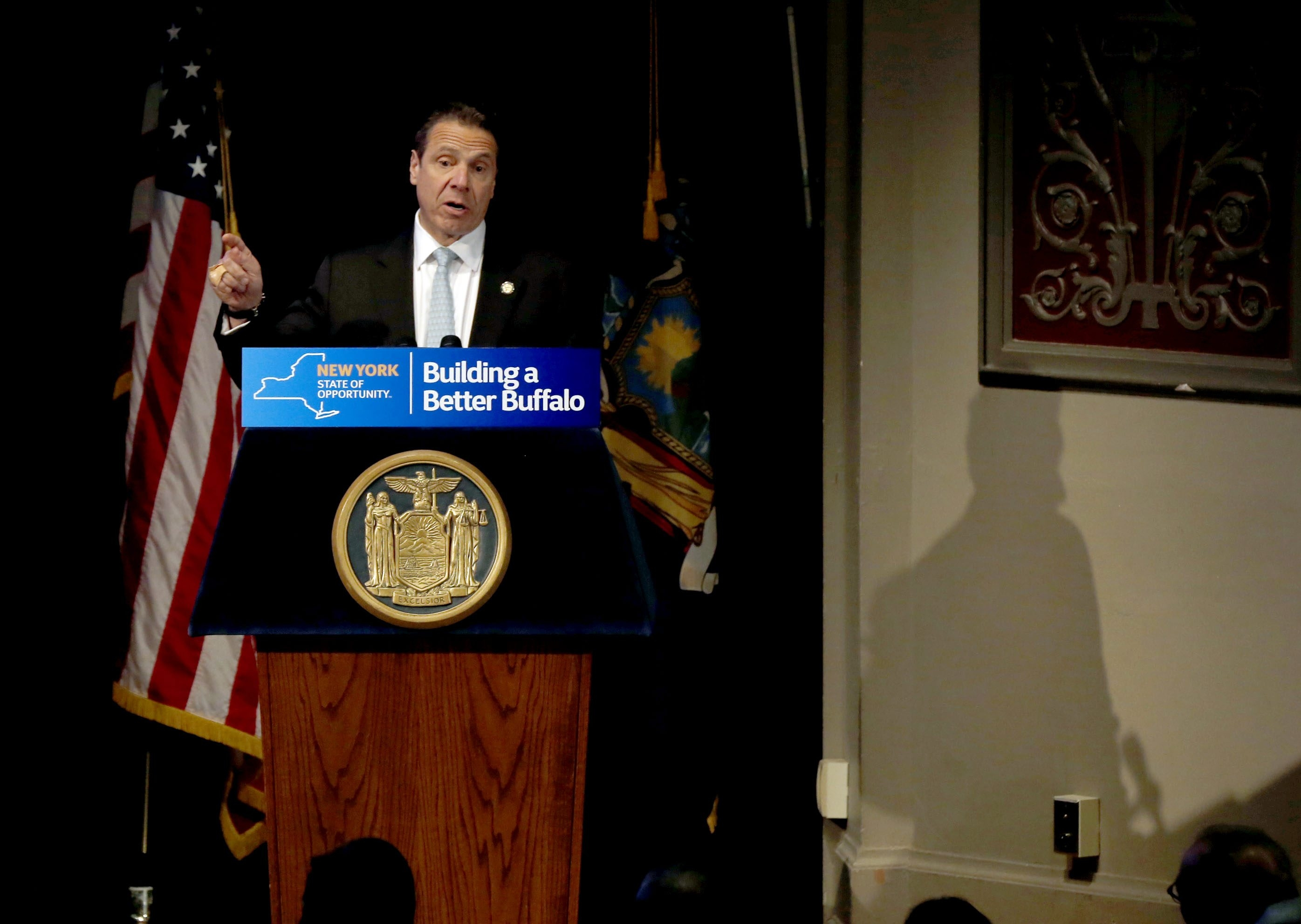 Gov. Andrew M. Cuomo announces local funding at Museum of Science.