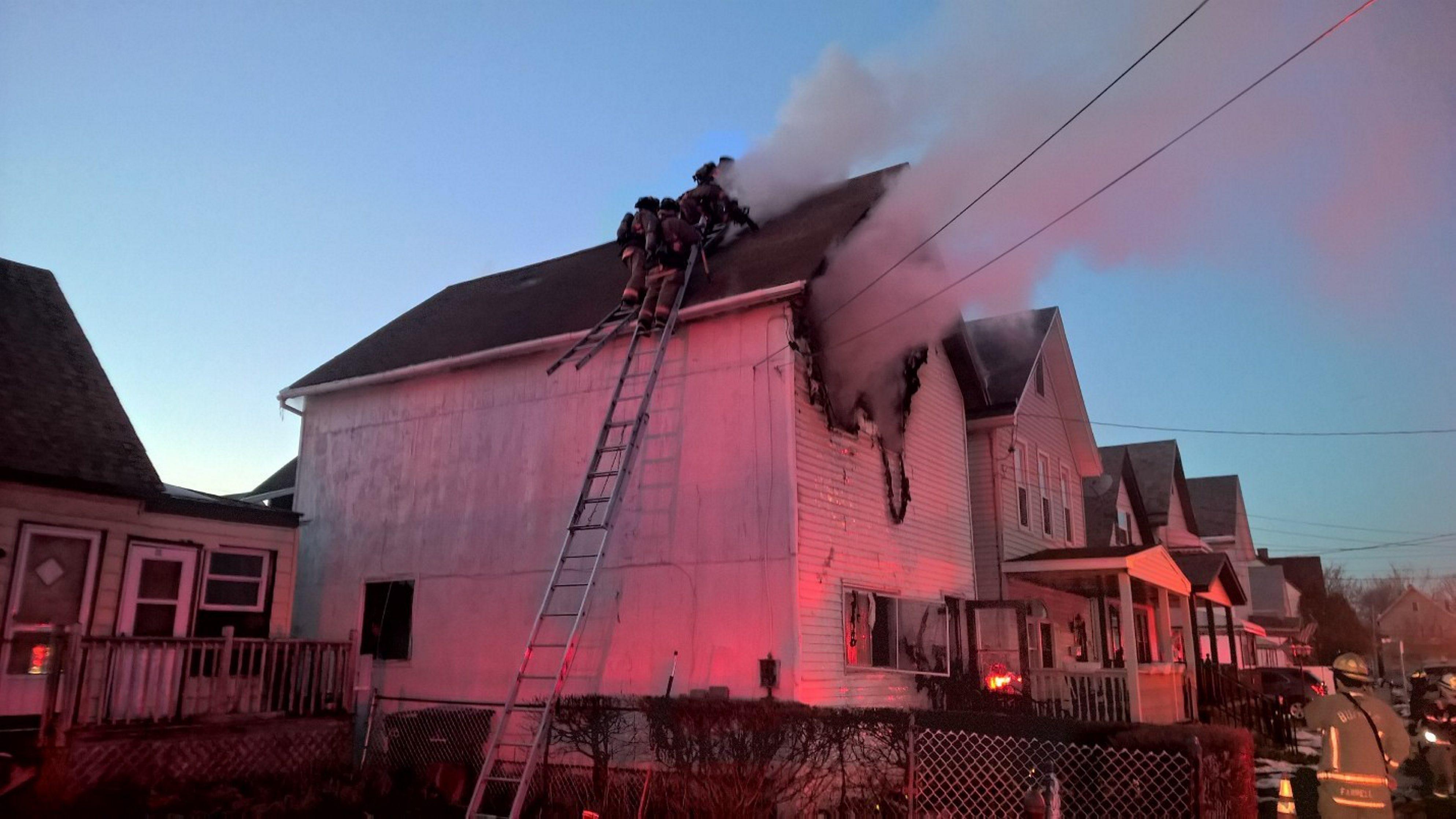 Buffalo firefighters battle a house fire on Vincennes Street Wednesday. (David Kazmierczak/Special to the News)