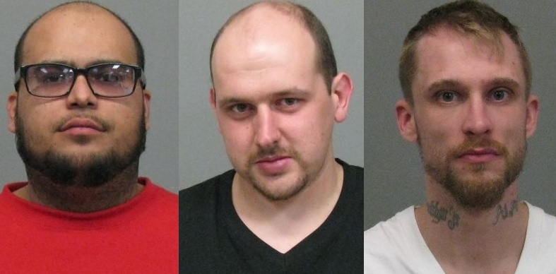 Left to right, Alex Oliveras, Jonathan C. Williams and Brook Patterson were each charged with criminal possession of a controlled substance and conspiracy. (Jamestown Police)