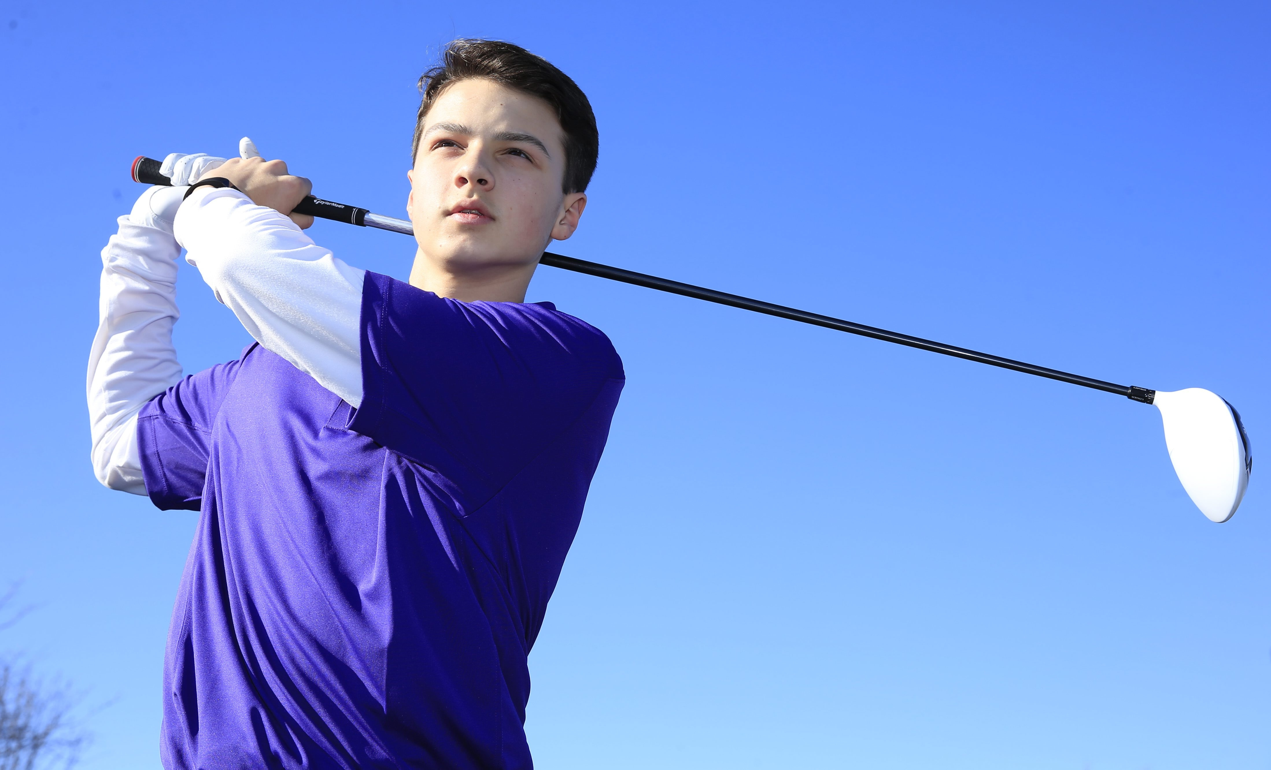 Andrew LaCongo, 15, of Holland typically drives the ball between 250 and 270 yards. (Harry Scull Jr./Buffalo News)