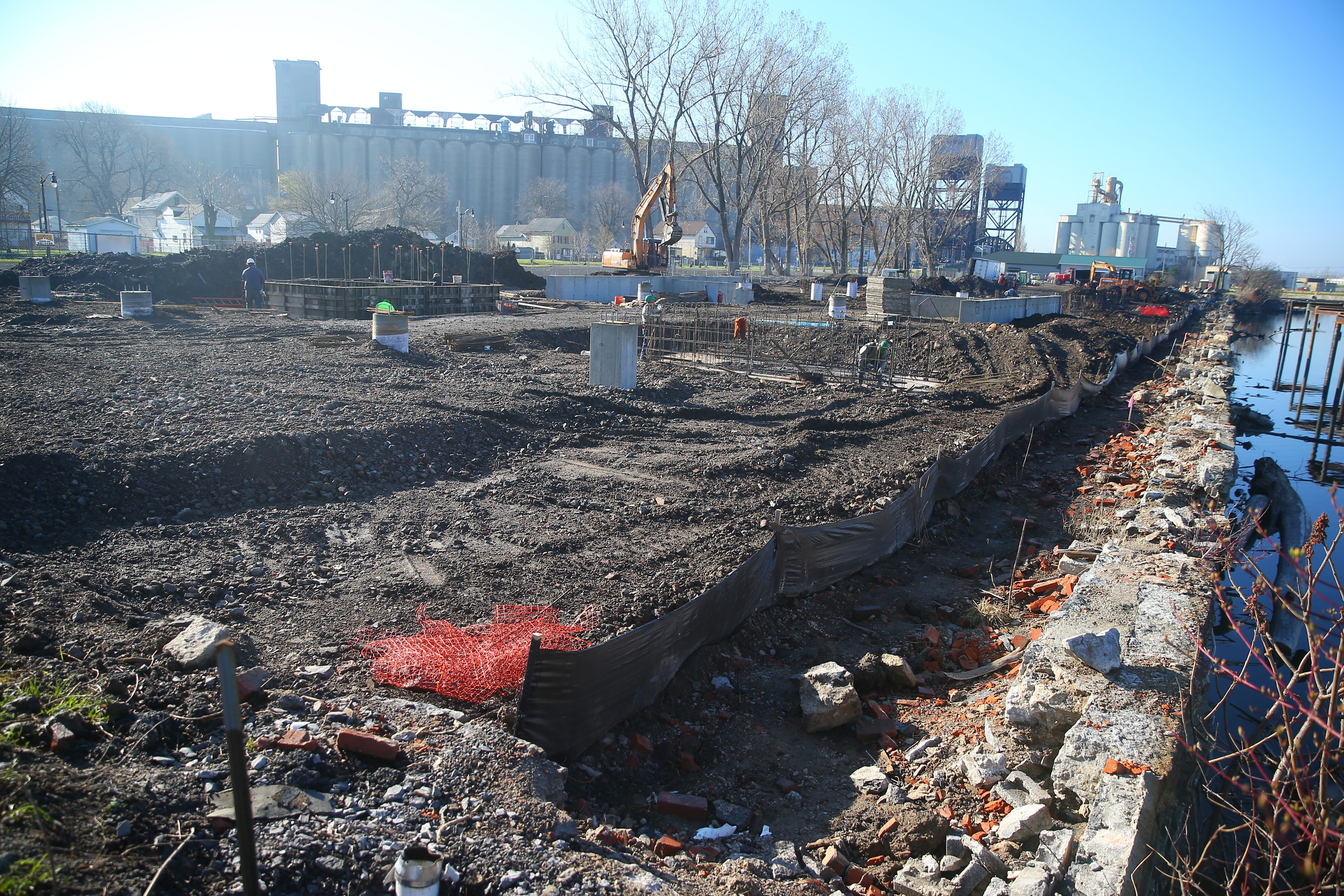 Foundation work on new apartment building being built at 441 Ohio St. in Buffalo. (John Hickey/Buffalo News)