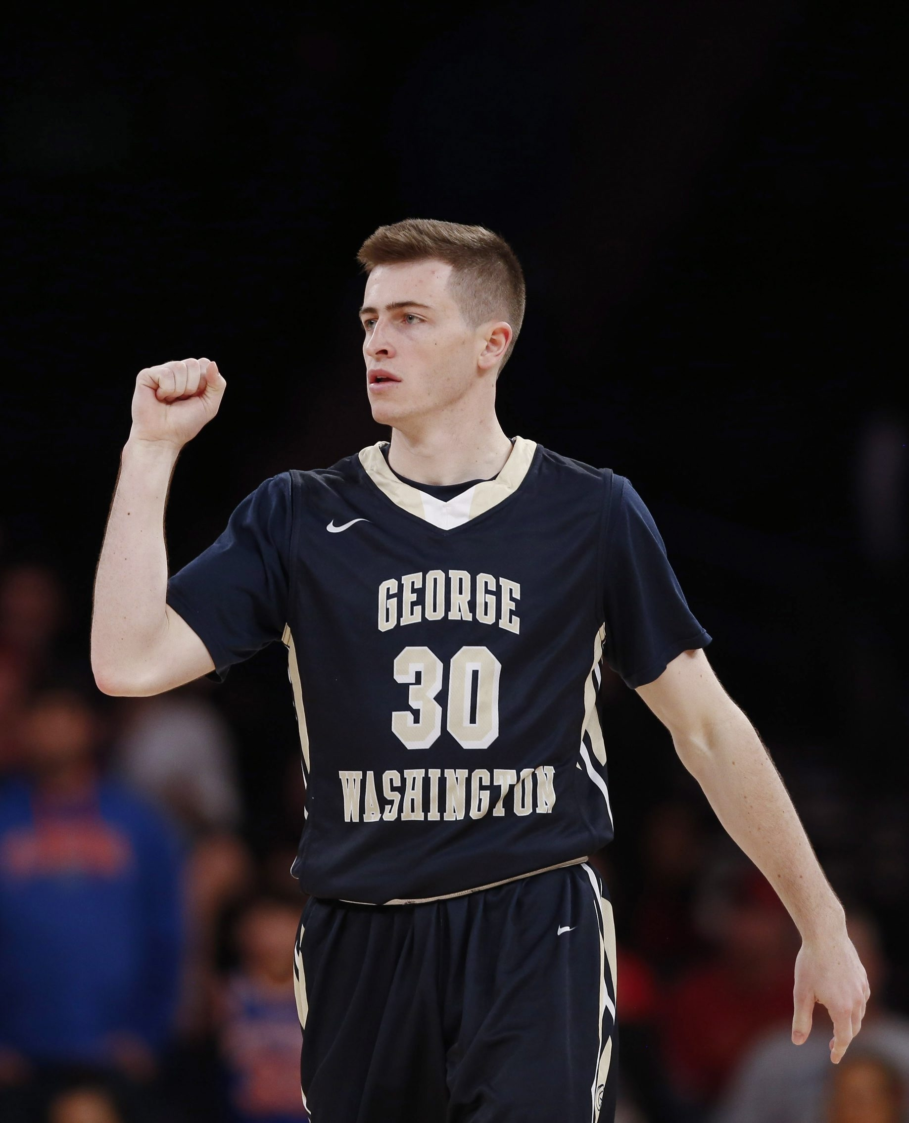 Matt Hart of the George Washington Colonials reacts after his team's win over the San Diego State Aztecs during their NIT Championship Semifinal game at Madison Square Garden on March 29 in New York City.