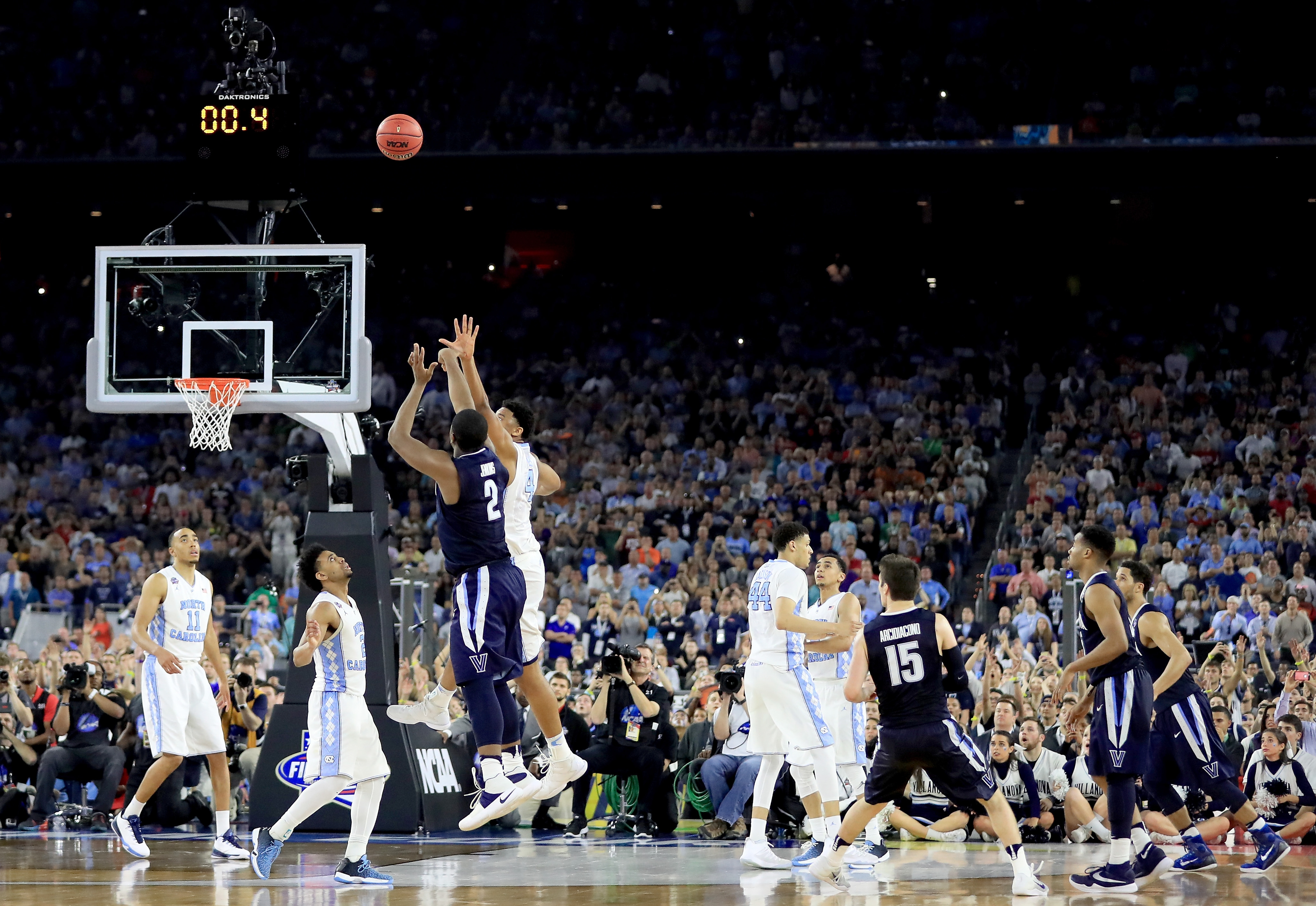 Kris Jenkins' lets fly with the shot that won the national championship for Villanova Monday.