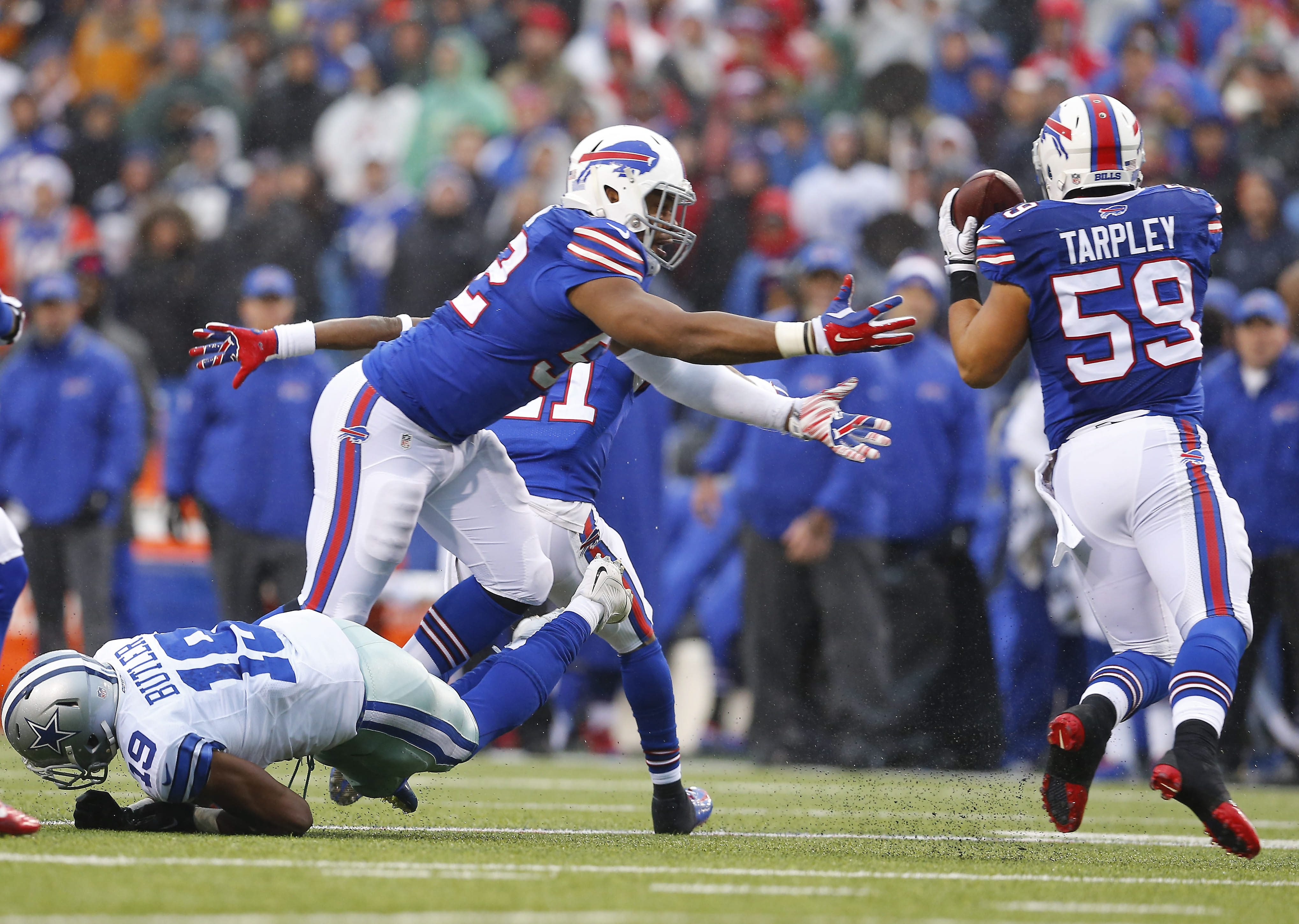 The Bills' AJ Tarpley intercepts a pass intended for the Cowboys' Brice Butler in the third quarter of last December's game.