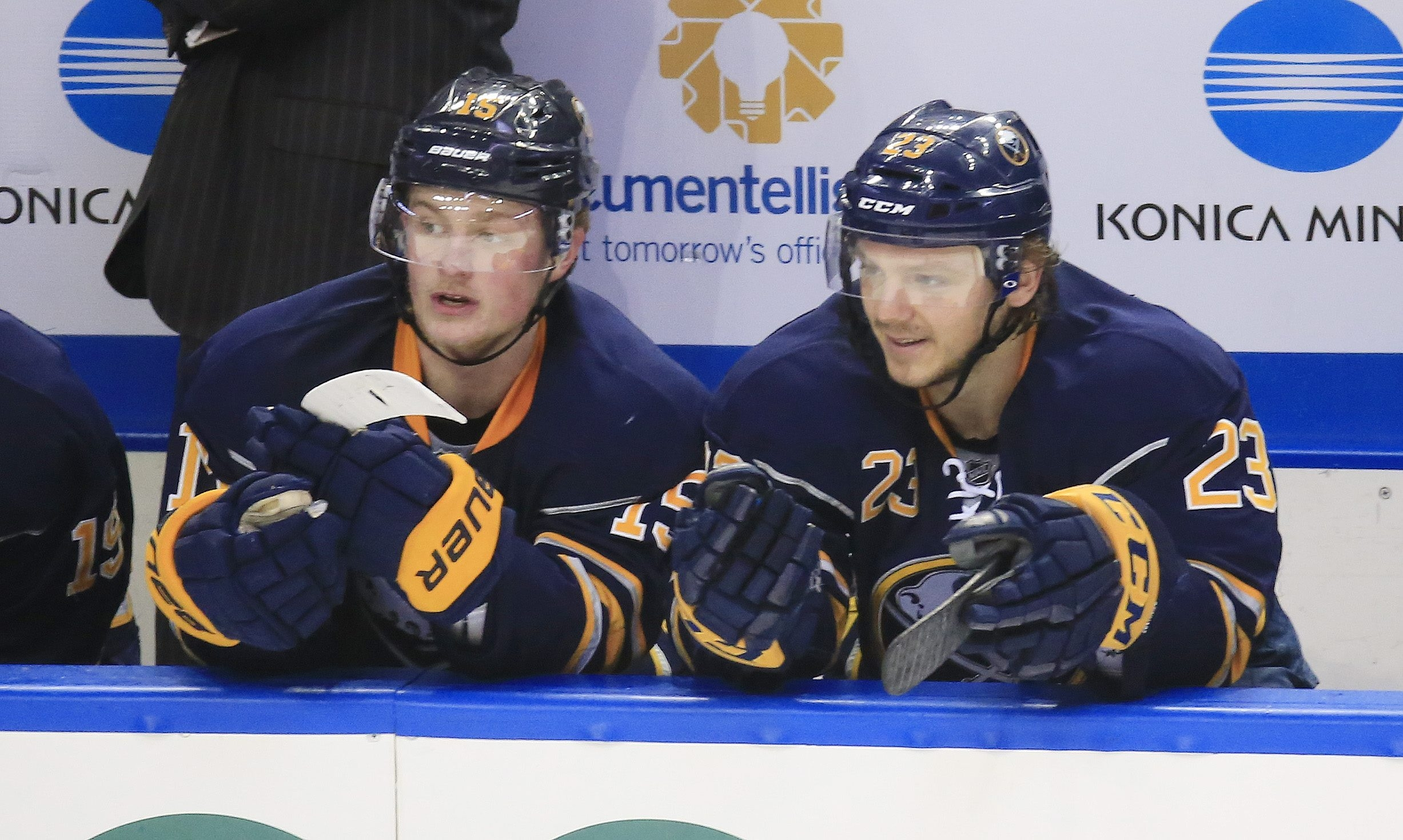 Buffalo Sabres Jack Eichel and Sam Reinhart talk on the bench during second period action against the Toronto Maple Leafs at the First Niagara Center on Thursday, March 31, 2016. (Harry Scull Jr./Buffalo News)