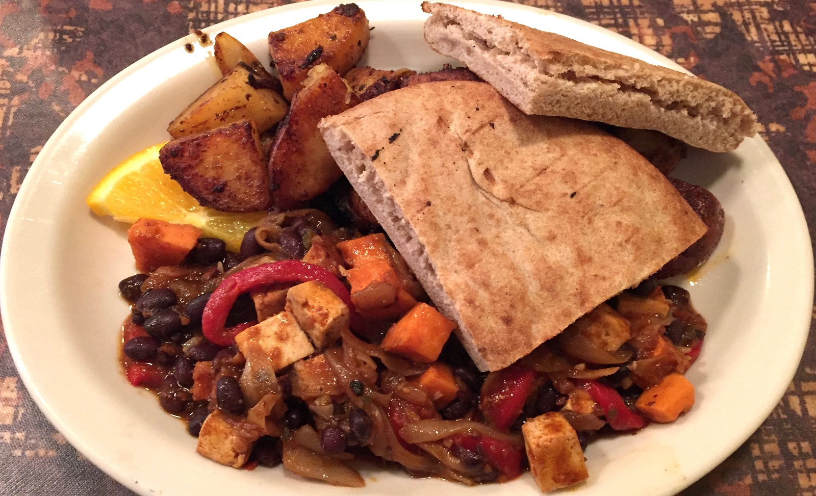 Scrambled tofu hash with pita from Betty's, $10. (Alex Mikol/Special to The News)